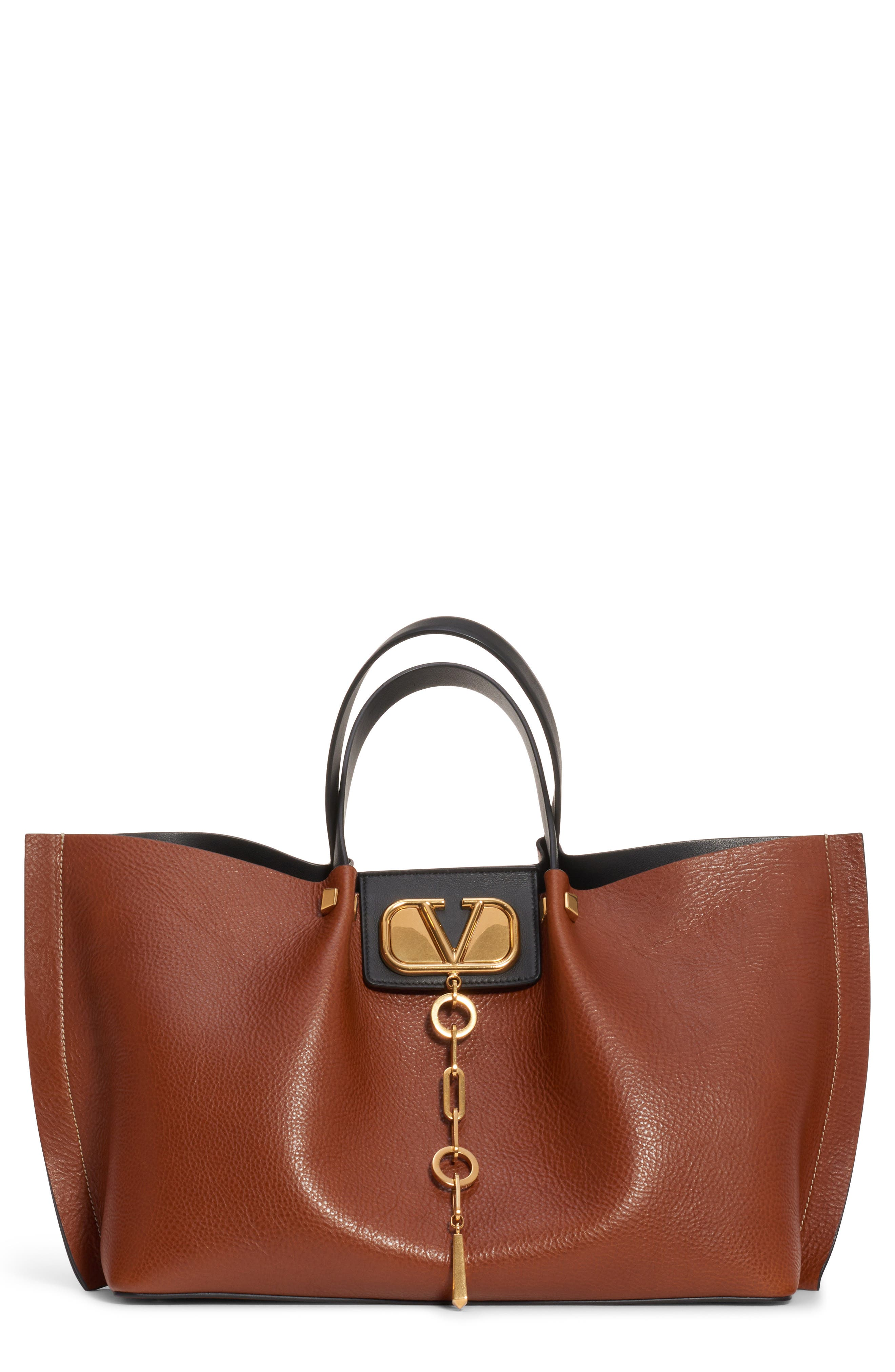 VALENTINO GARAVANI,                             Medium Go Logo Leather Tote,                             Main thumbnail 1, color,                             TAN/ NERO/ ROUGE PUR