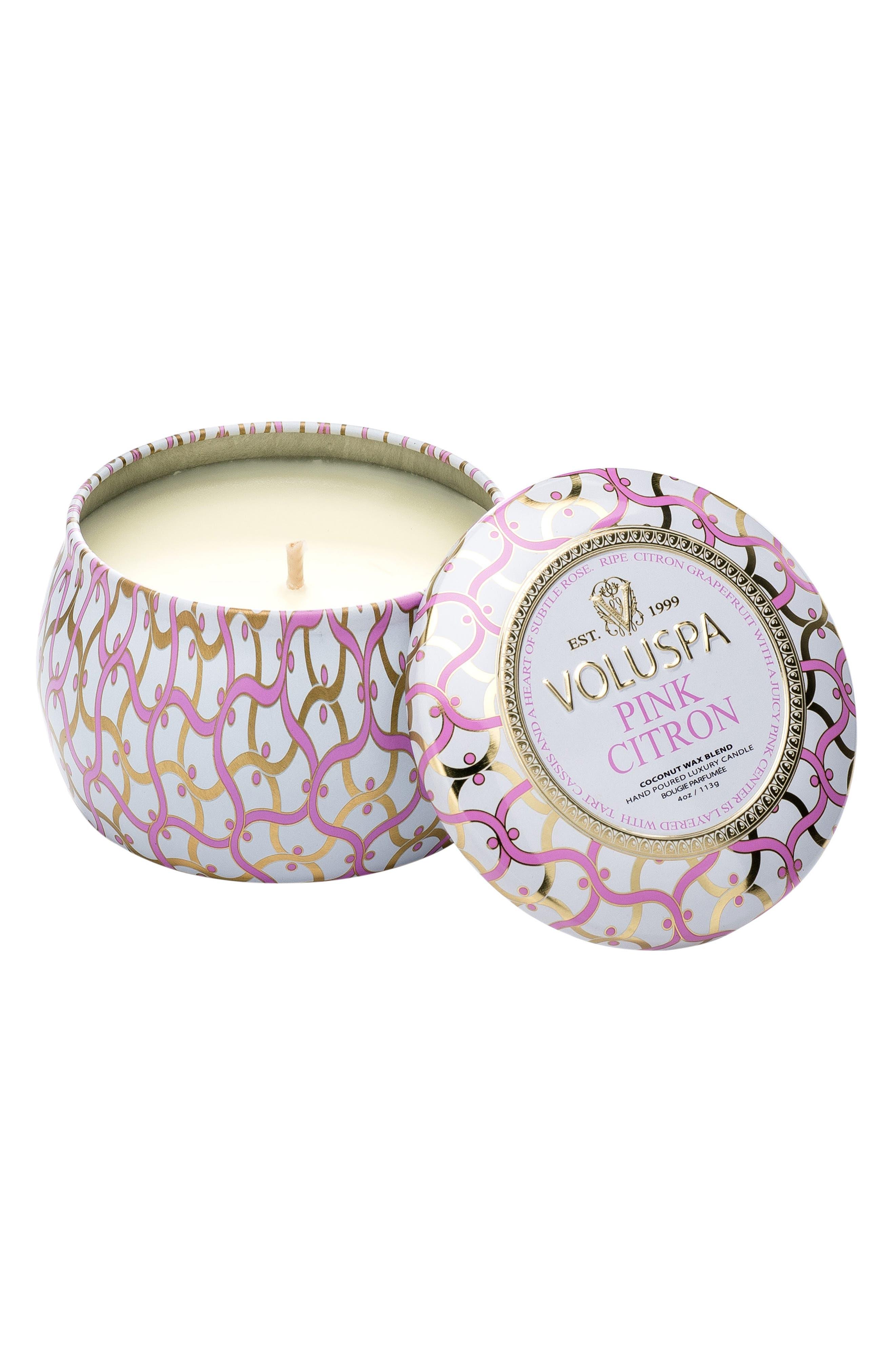 Maison Blanc Pink Citron Petite Decorative Tin Candle,                             Main thumbnail 1, color,                             NO COLOR