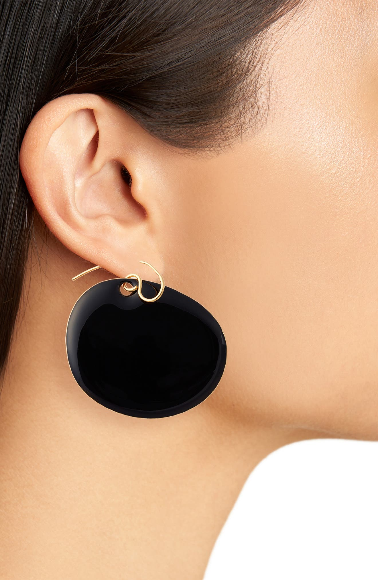 Flat Disc Earrings,                             Alternate thumbnail 2, color,                             001