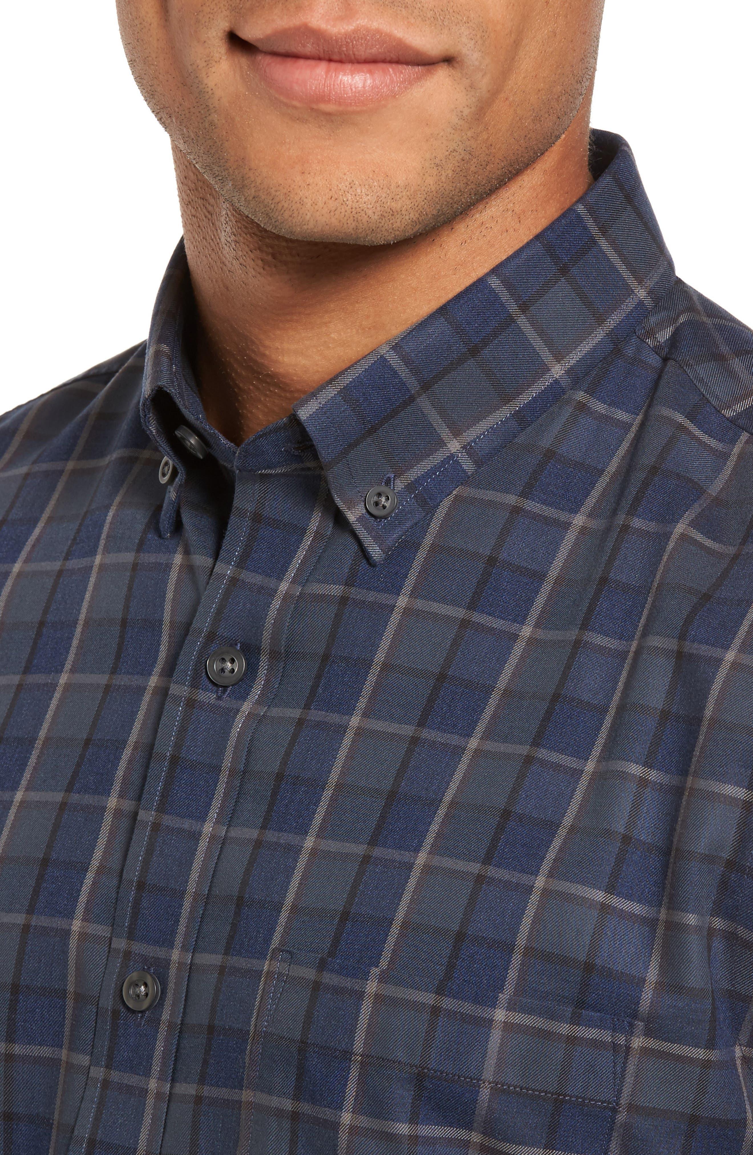 Trim Fit Non-Iron Plaid Sport Shirt,                             Alternate thumbnail 4, color,                             021