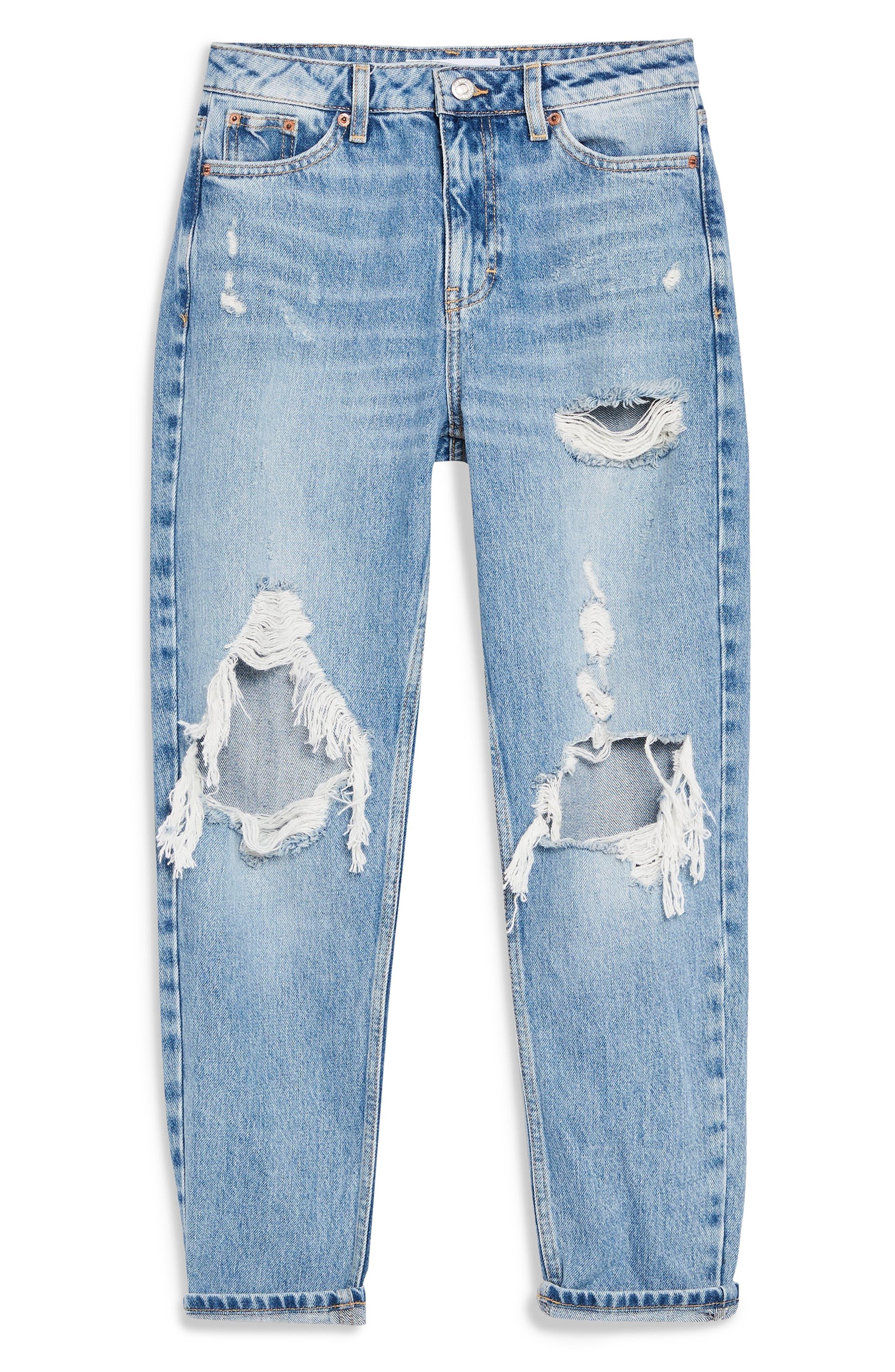 TOPSHOP,                             Destroyed Mom Jeans,                             Alternate thumbnail 3, color,                             BLEACH