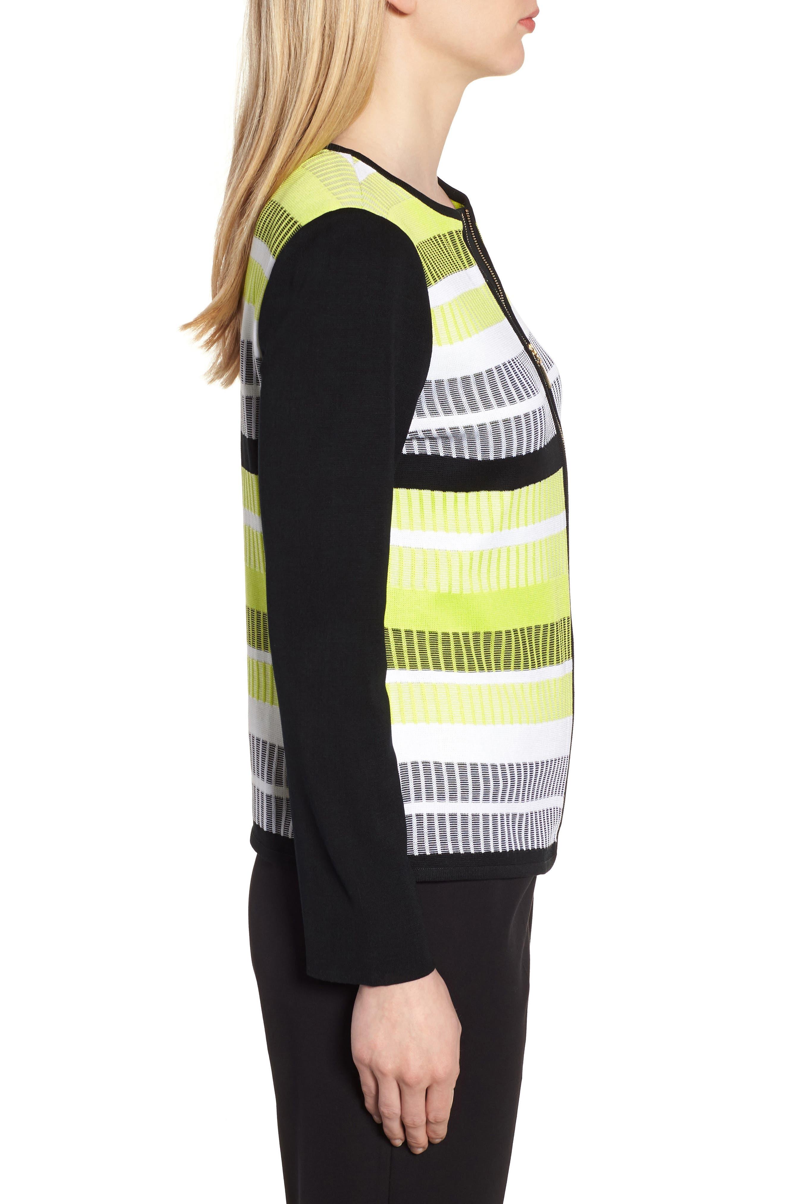 Long Sleeve Stripe Jacket,                             Alternate thumbnail 3, color,                             BLACK/ PEAR/ WHITE