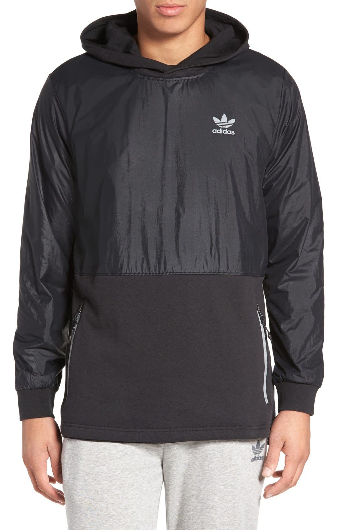 ADIDAS ORIGINALS,                             Sport Luxe Mix Hoodie,                             Main thumbnail 1, color,                             001