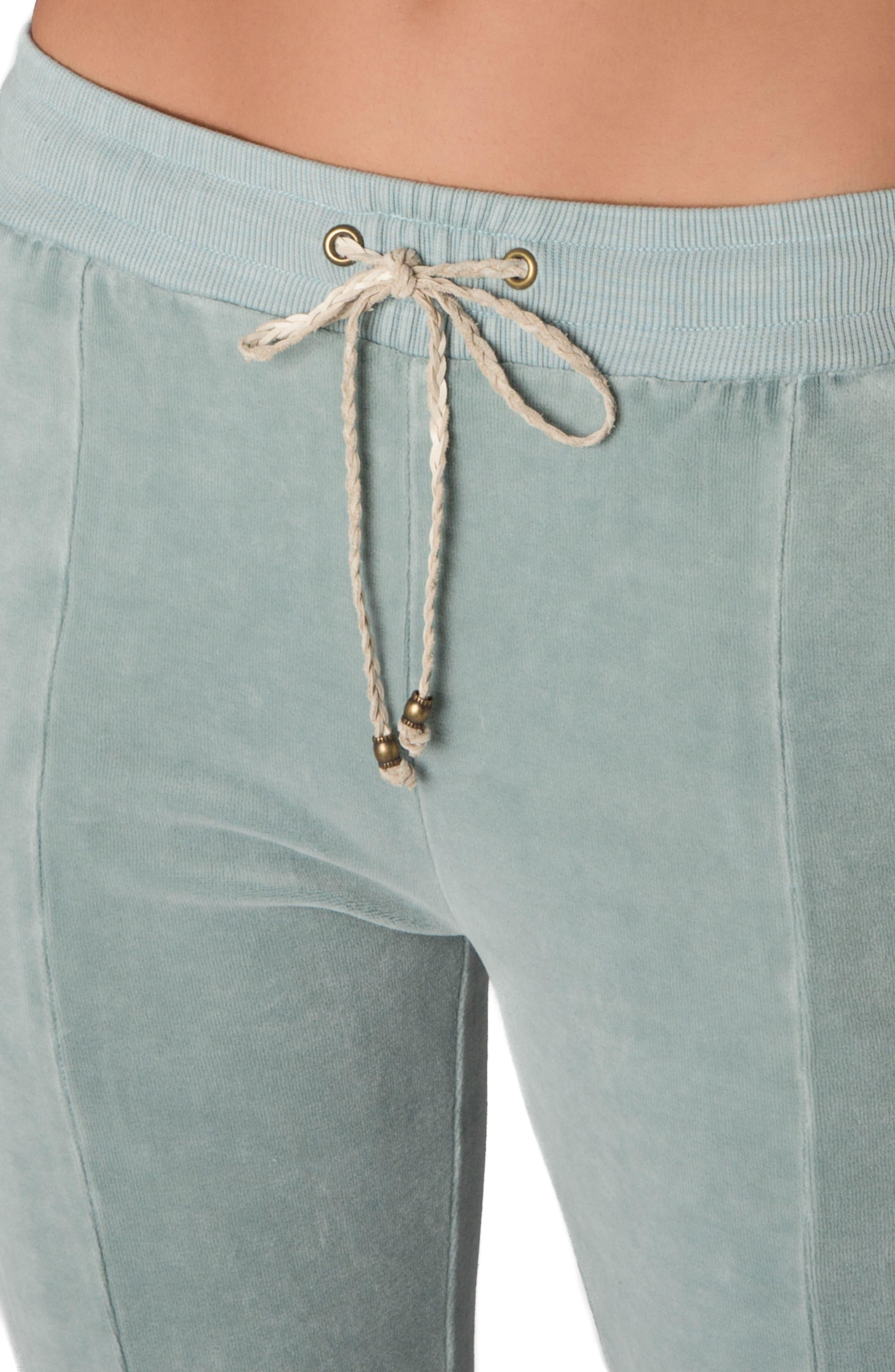 High Waist Velour Track Pants,                             Alternate thumbnail 4, color,                             400