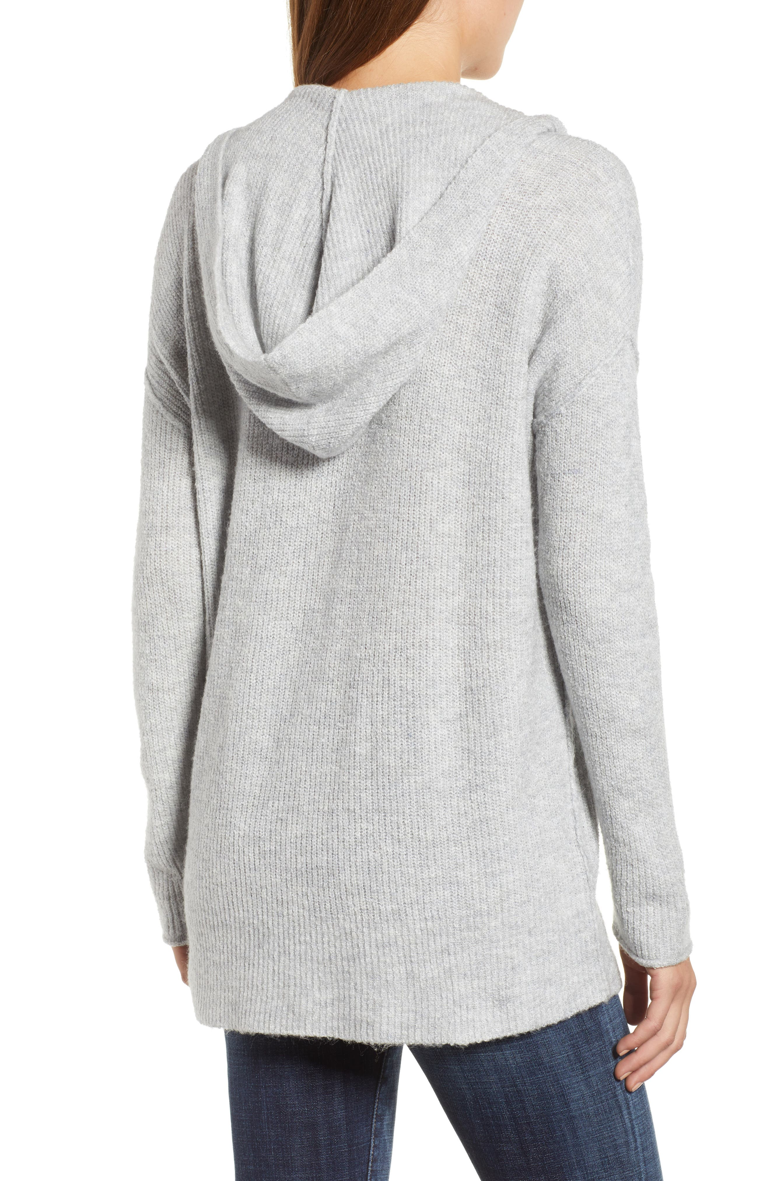 Side Button Hooded Sweater,                             Alternate thumbnail 2, color,                             GREY LIGHT HEATHER