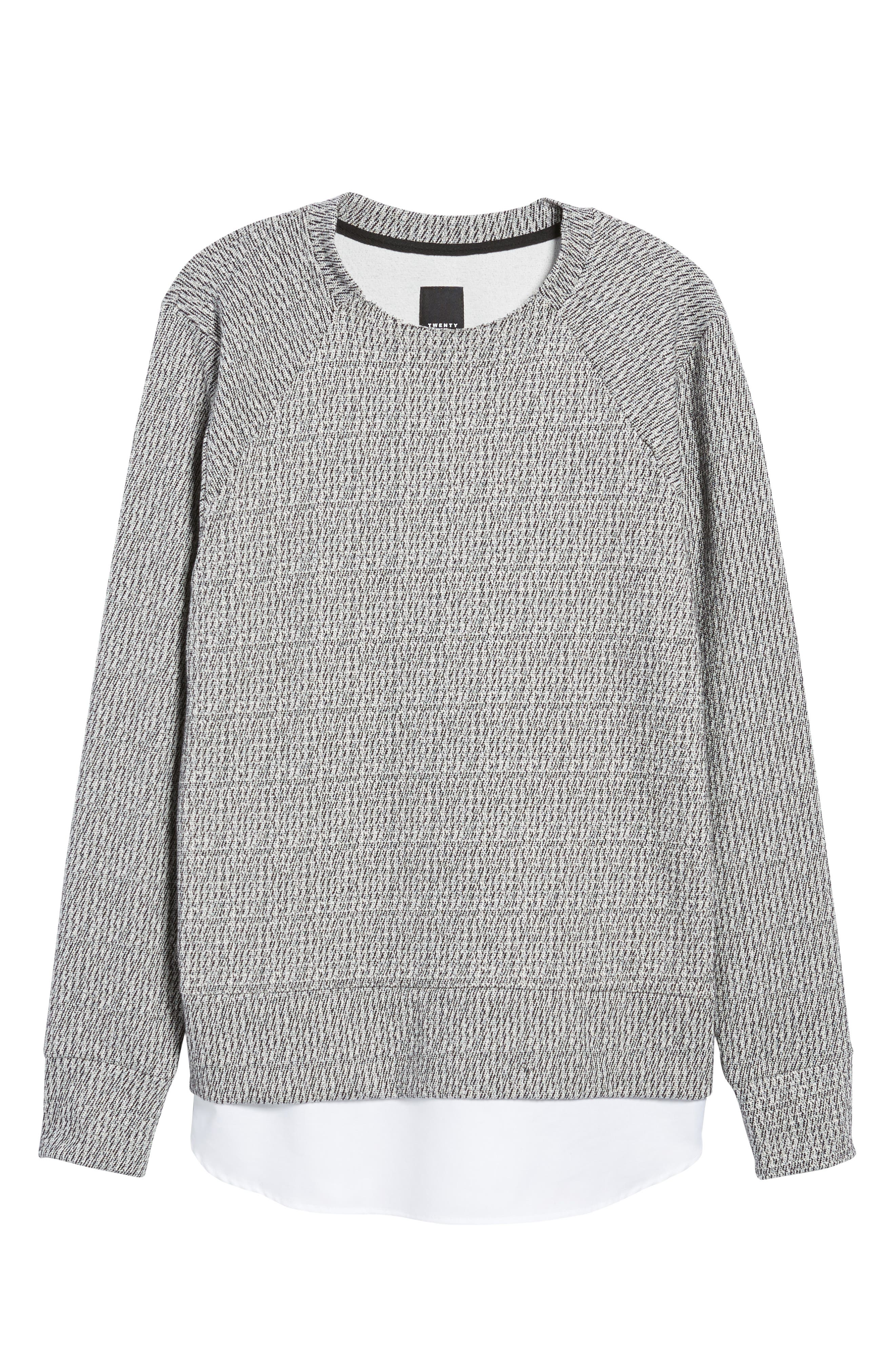 Double Layer Crewneck Sweater,                             Alternate thumbnail 6, color,                             020
