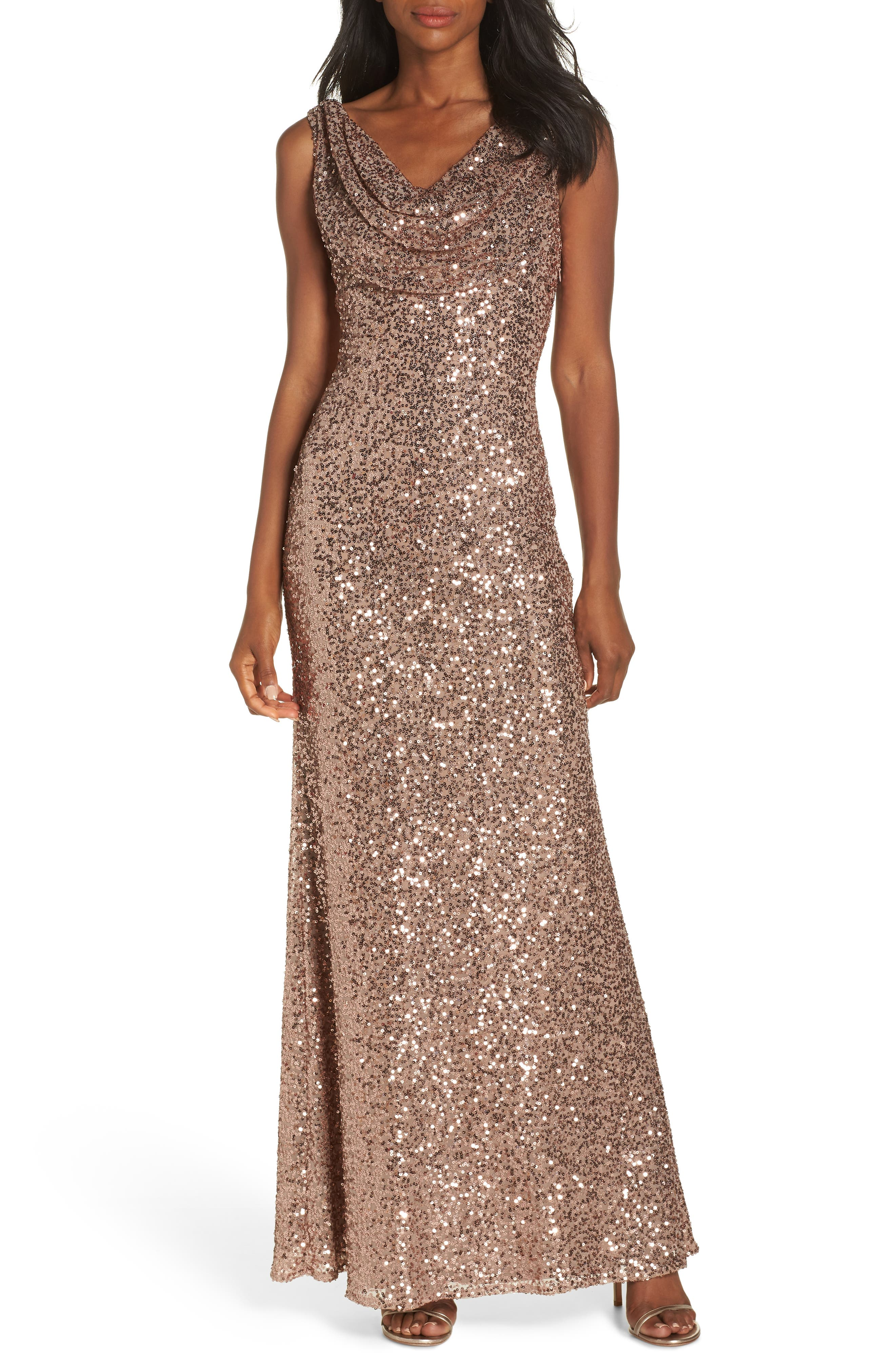 Cowl Neck Sequin Gown,                         Main,                         color, ROSE GOLD