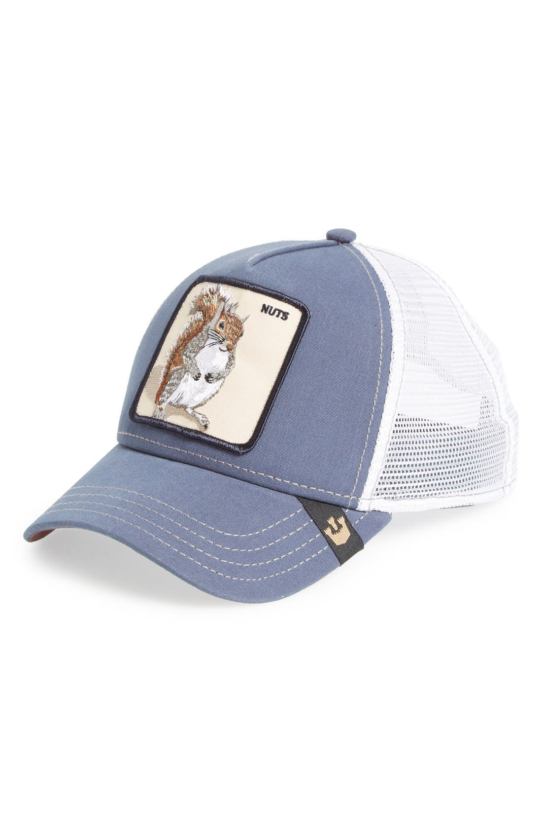 'Nutty' Trucker Hat,                             Main thumbnail 1, color,                             BLUE