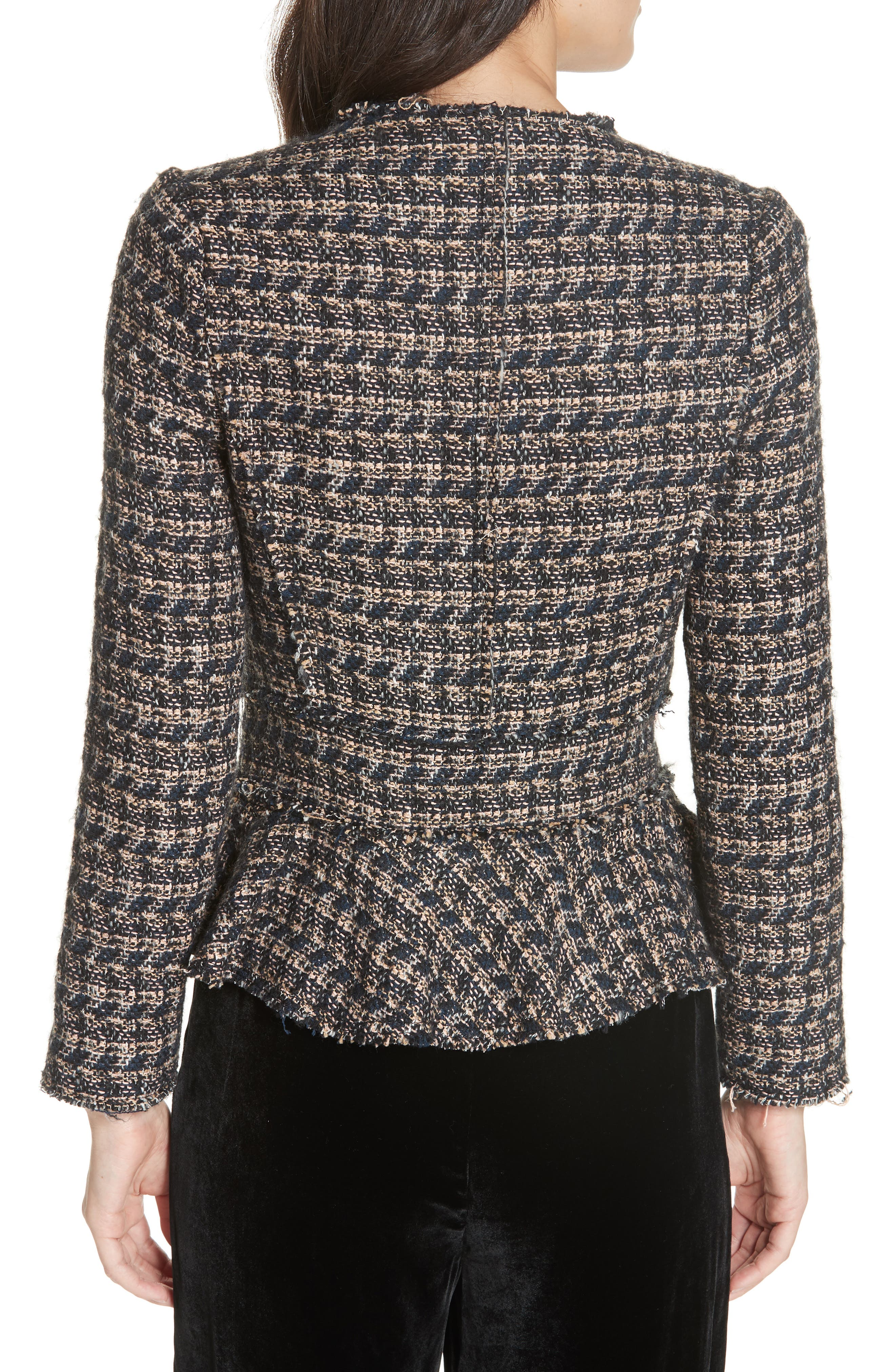 Zip Front Tweed Peplum Jacket,                             Alternate thumbnail 2, color,                             MULTI
