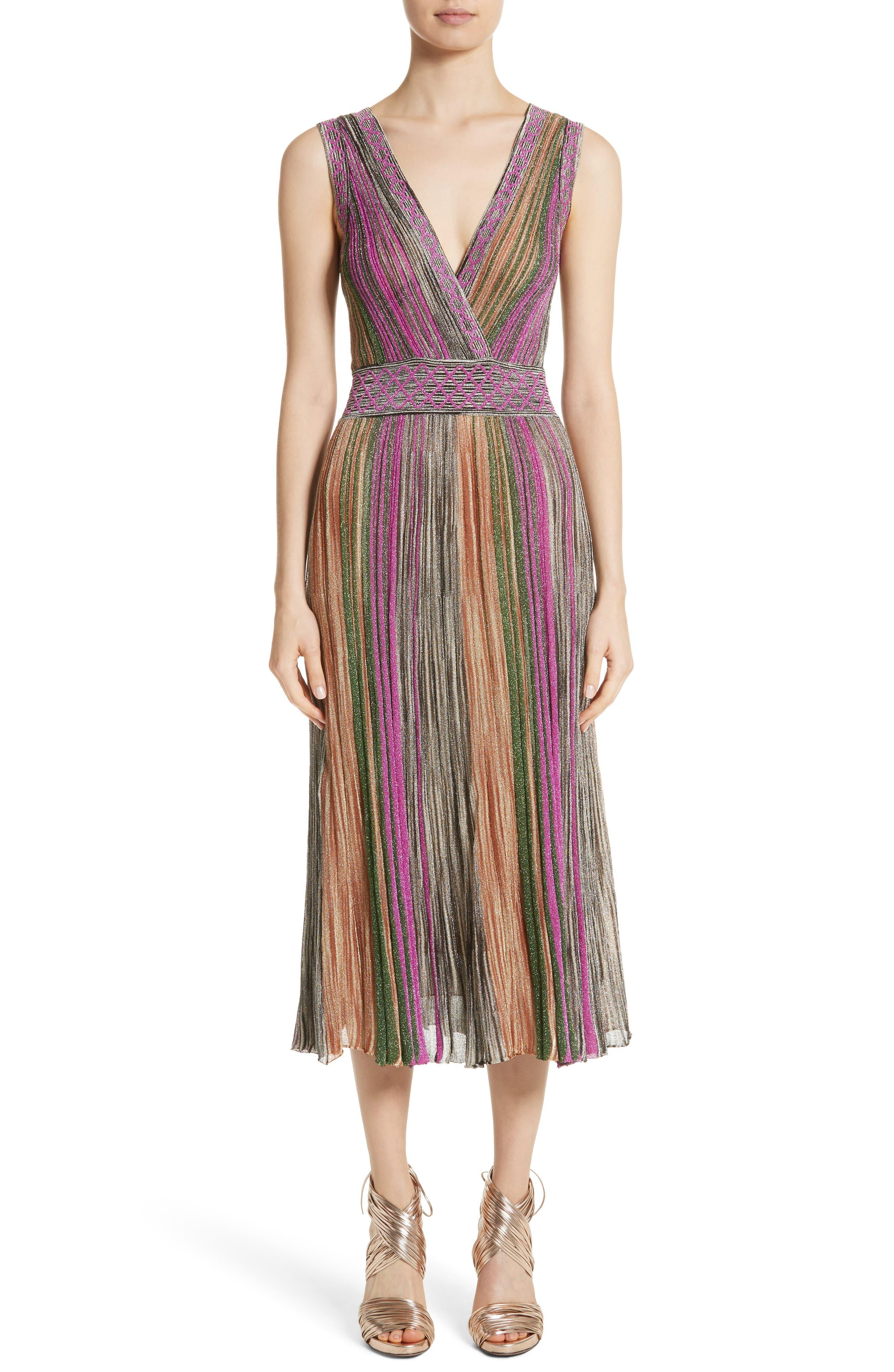 Reversible Metallic Stripe Knit Midi Dress,                         Main,                         color, 010