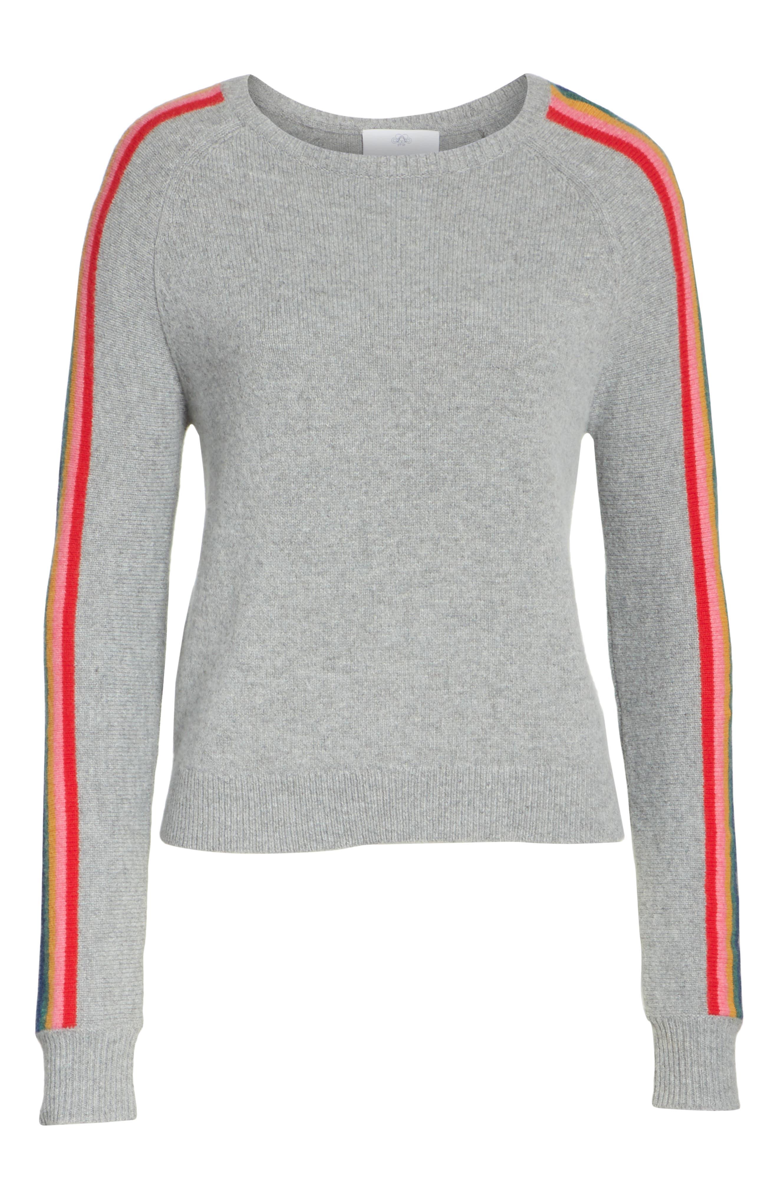 Rainbow Stripe Merino Wool Blend Sweater,                             Alternate thumbnail 6, color,                             MEDIUM GREY MELANGE