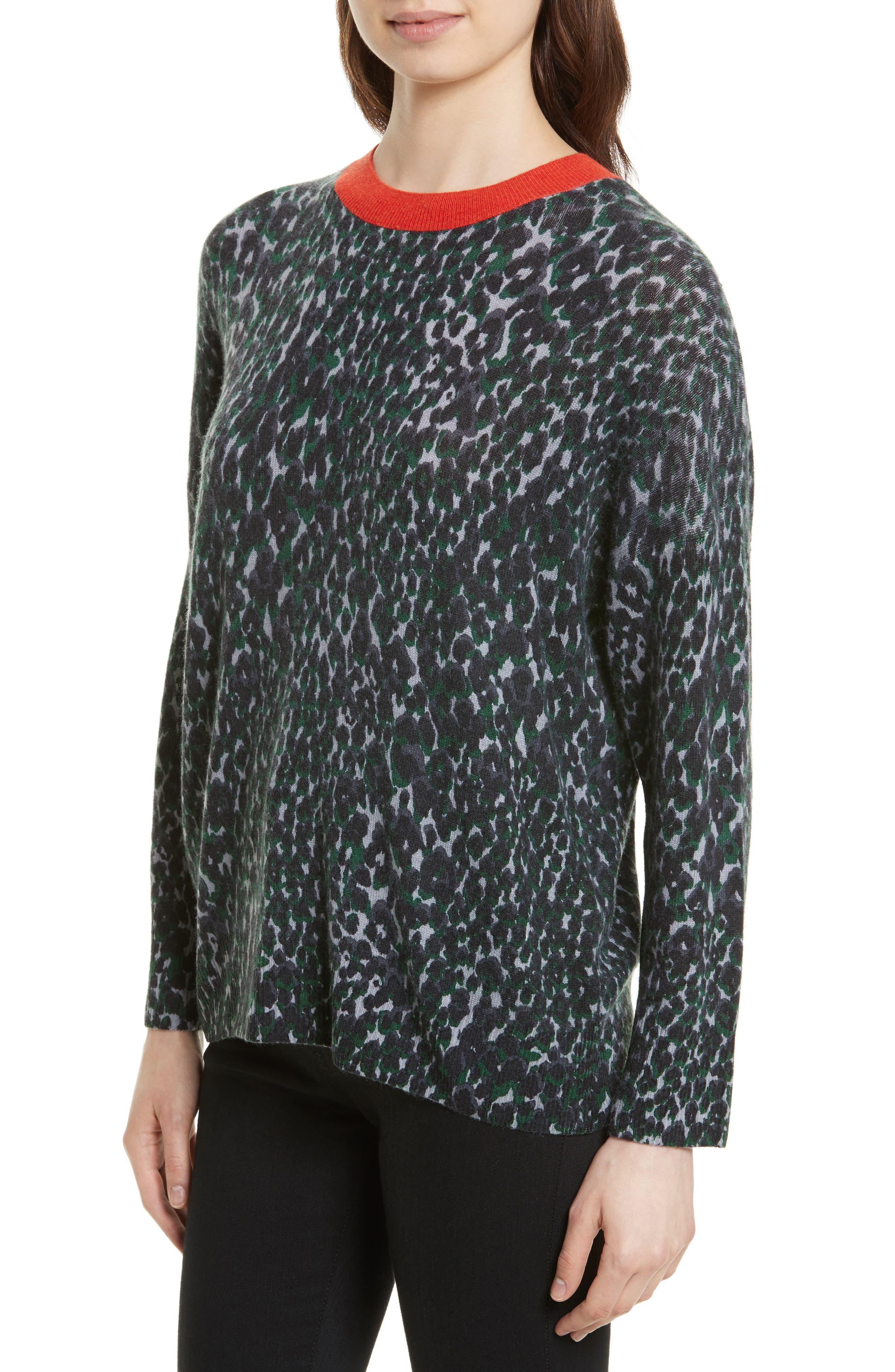 Melanie Leopard Print Cashmere Sweater,                             Alternate thumbnail 4, color,                             073