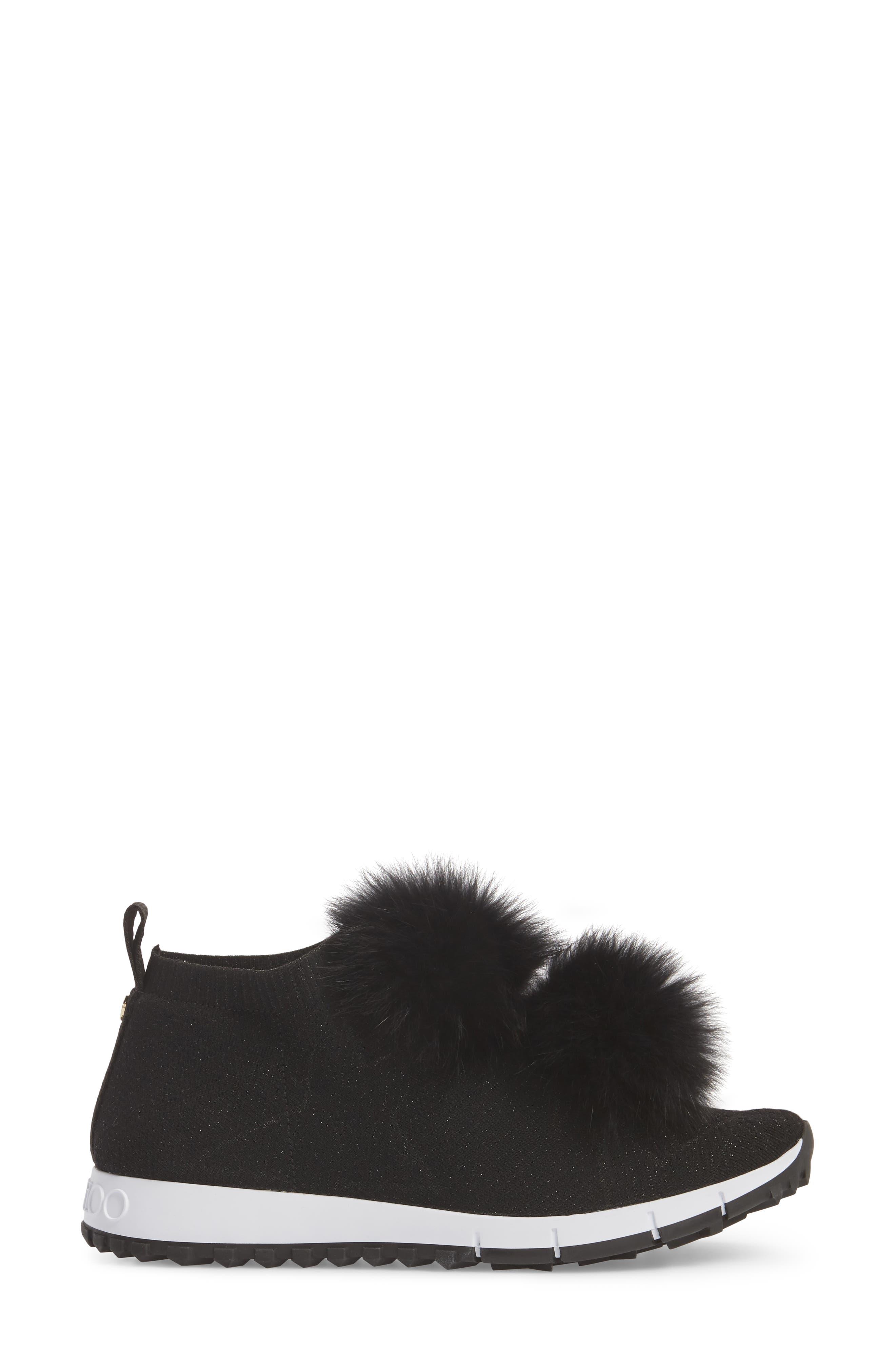 Genuine Fox Fur Sock Sneaker,                             Alternate thumbnail 3, color,                             BLACK