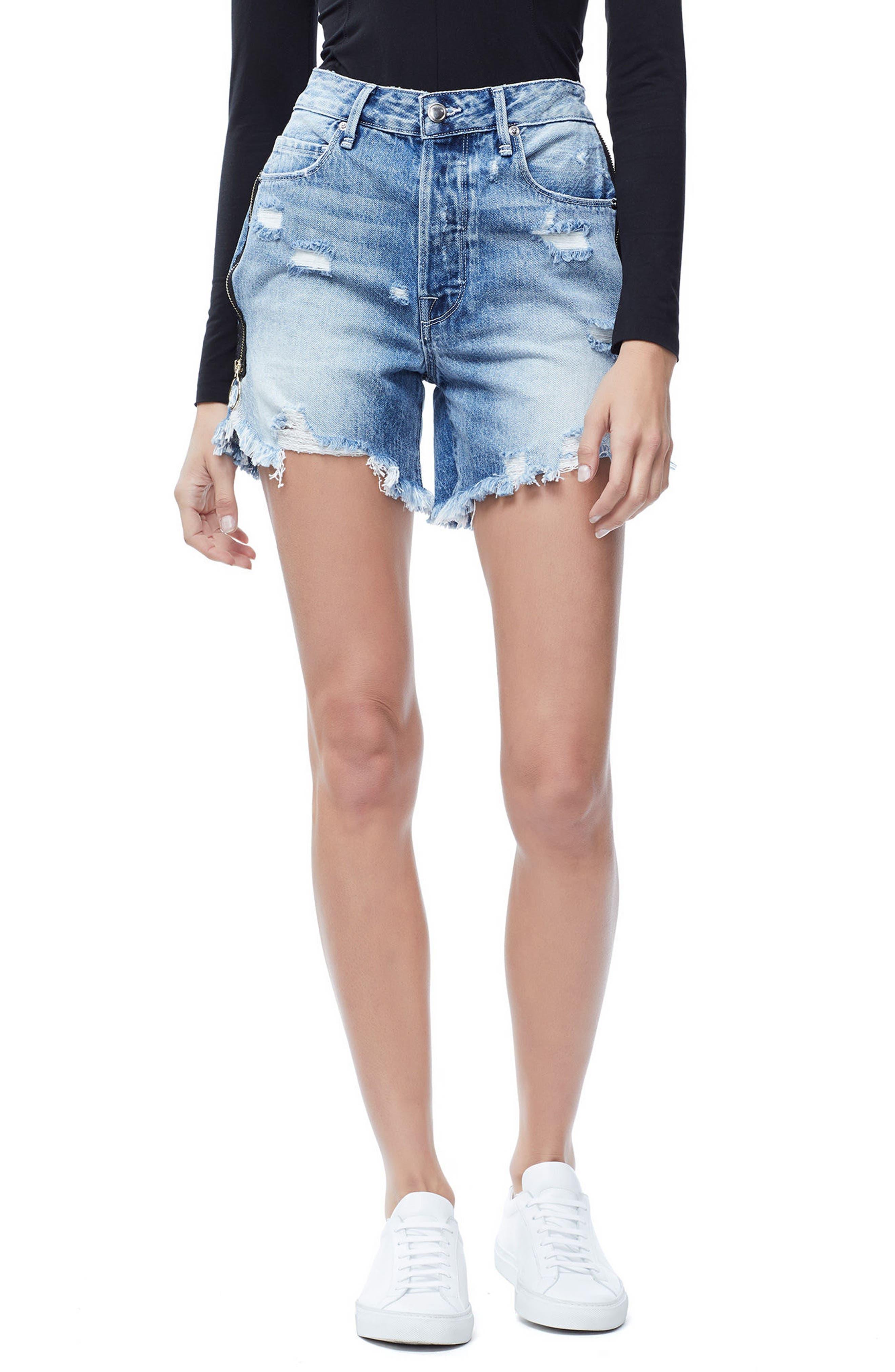 The Bombshell High Waist Distressed Denim Shorts,                         Main,                         color, 401