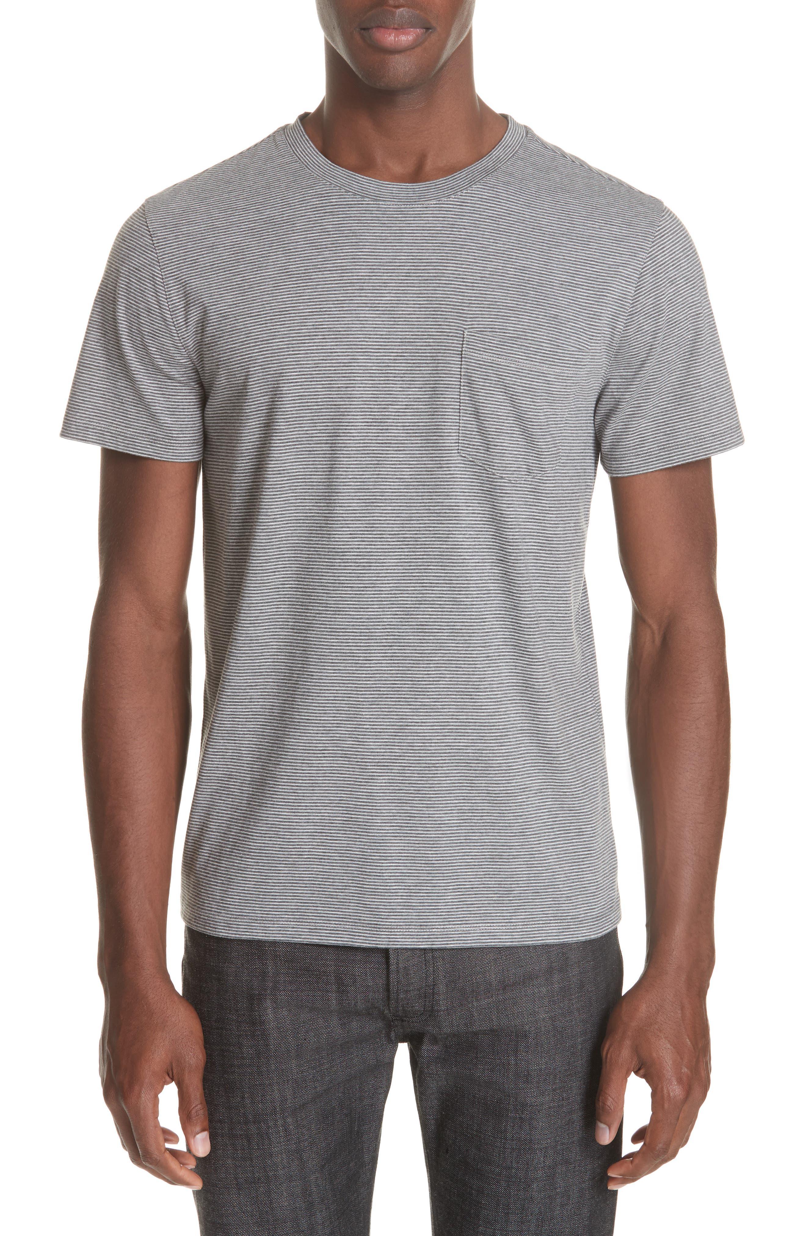 A.p.c. Keanu Striped Pocket T-Shirt, Grey