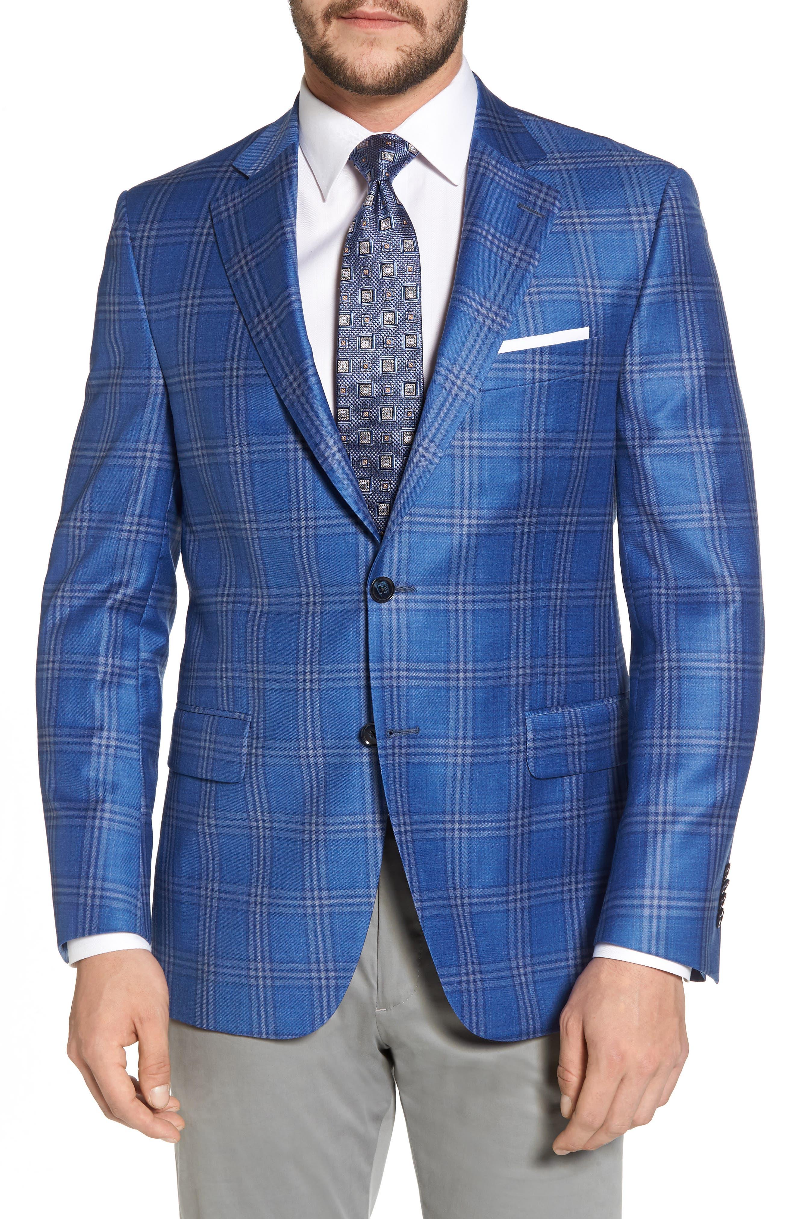 Classic Fit Plaid Wool Sport Coat,                             Main thumbnail 1, color,                             400