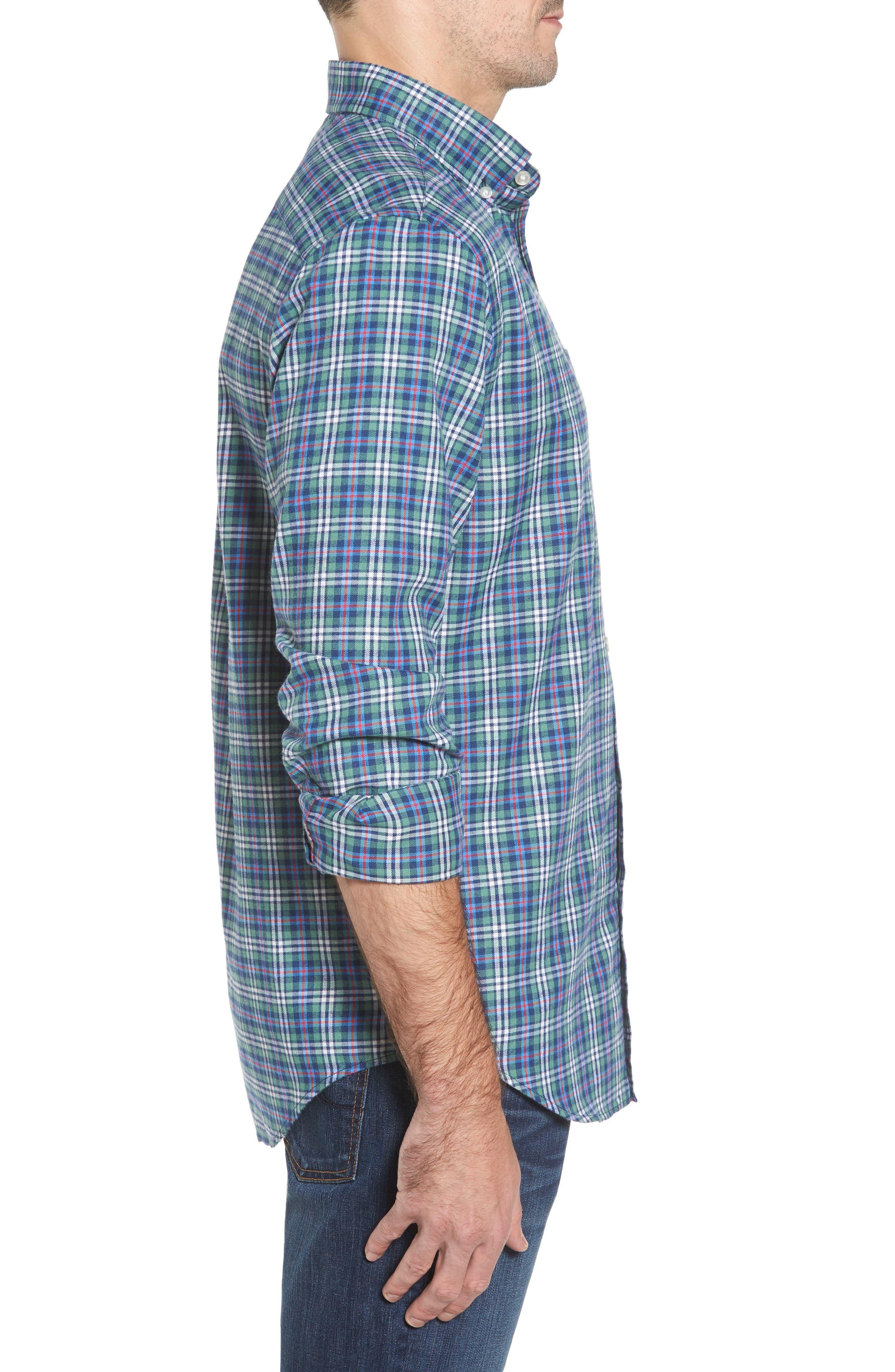 Murray Plaid Classic Fit Sport Shirt,                             Alternate thumbnail 3, color,                             303