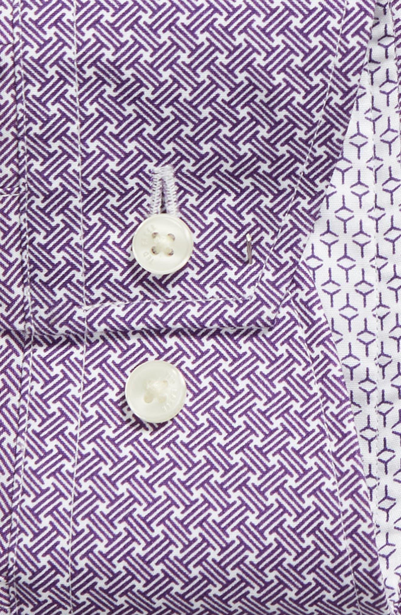 Rugber Slim Fit Print Dress Shirt,                             Alternate thumbnail 6, color,                             PURPLE