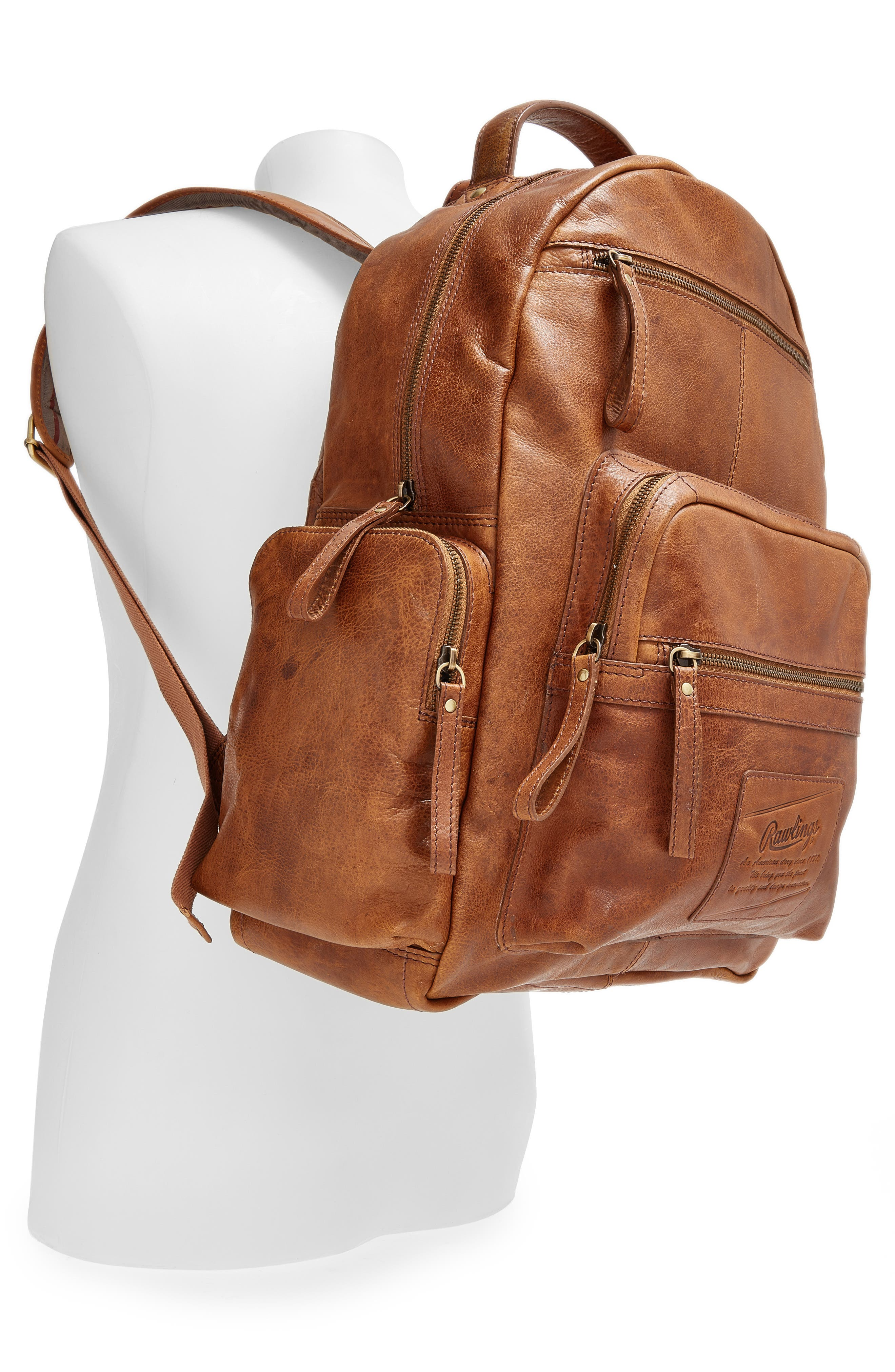 'Rugged' Leather Backpack,                             Alternate thumbnail 2, color,                             202