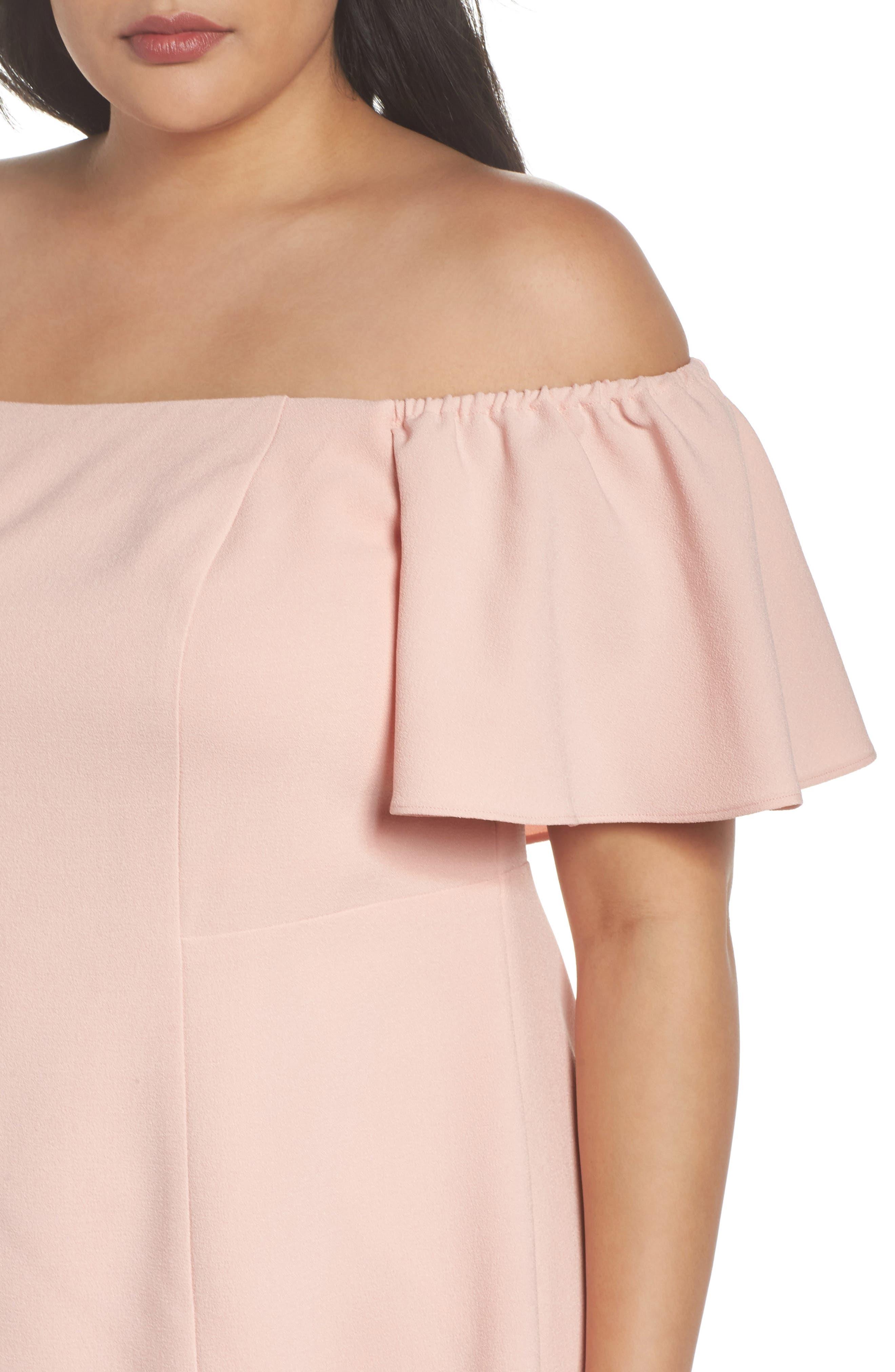 Off the Shoulder Crepe Dress,                             Alternate thumbnail 4, color,                             684