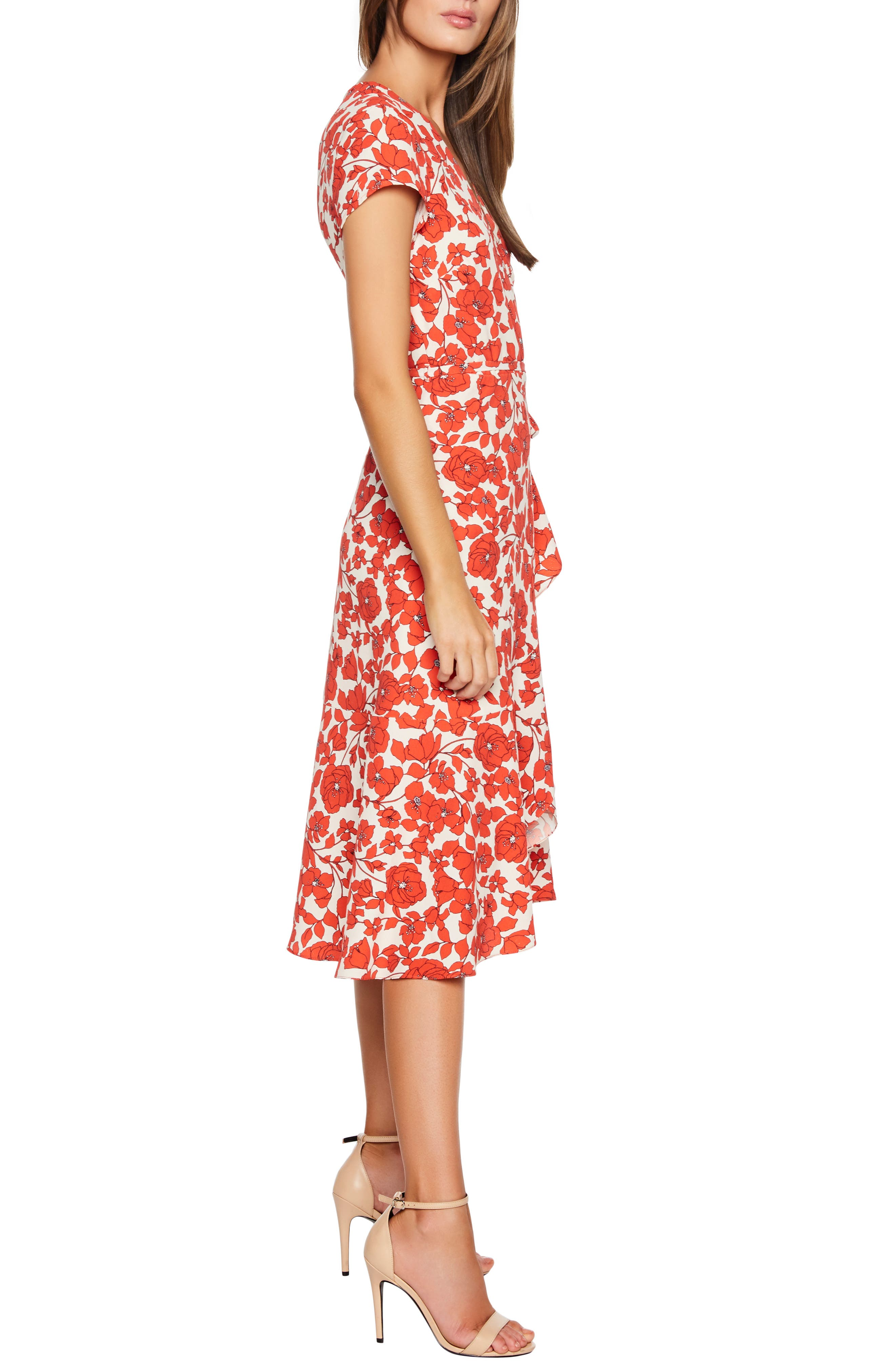 BARDOT,                             Fiesta Floral Midi Dress,                             Alternate thumbnail 4, color,                             ORANGE FLORAL