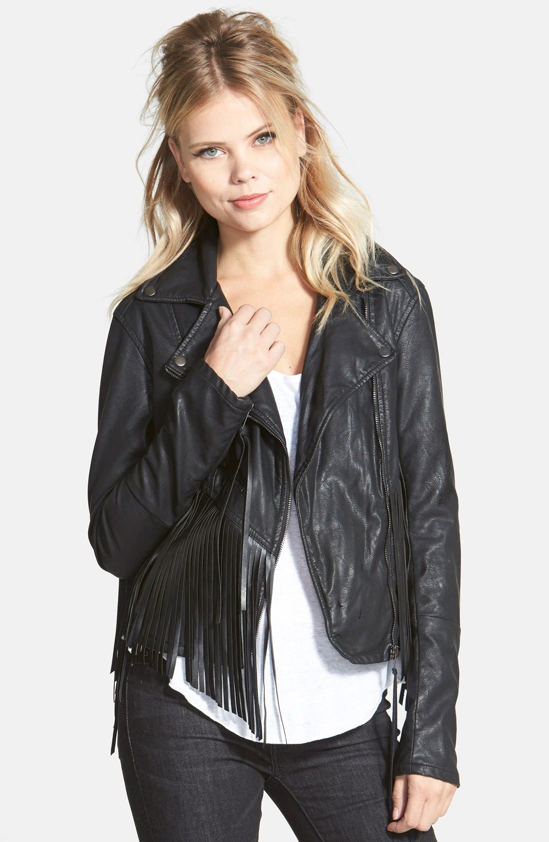 BLANKNYC 'Let It Ride' Faux Leather Jacket, Main, color, 001