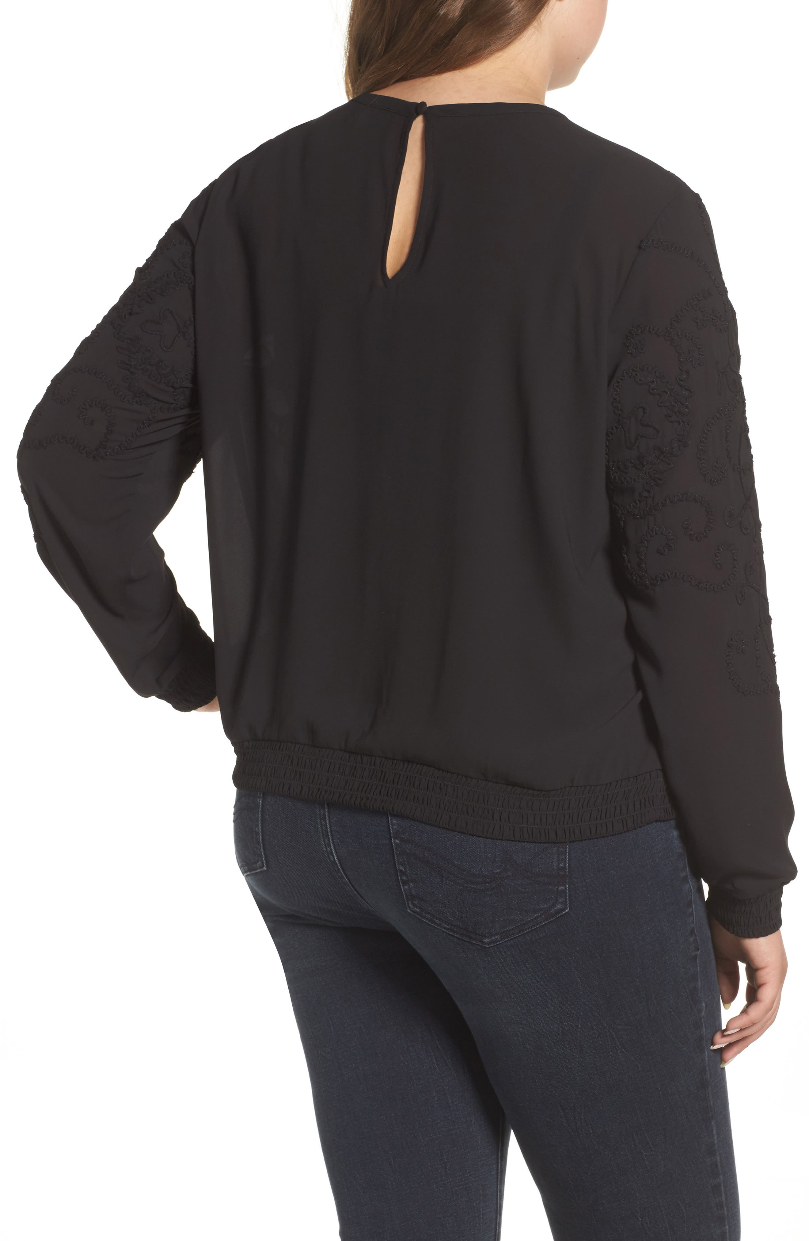 Embroidered Georgette Top,                             Alternate thumbnail 2, color,                             002
