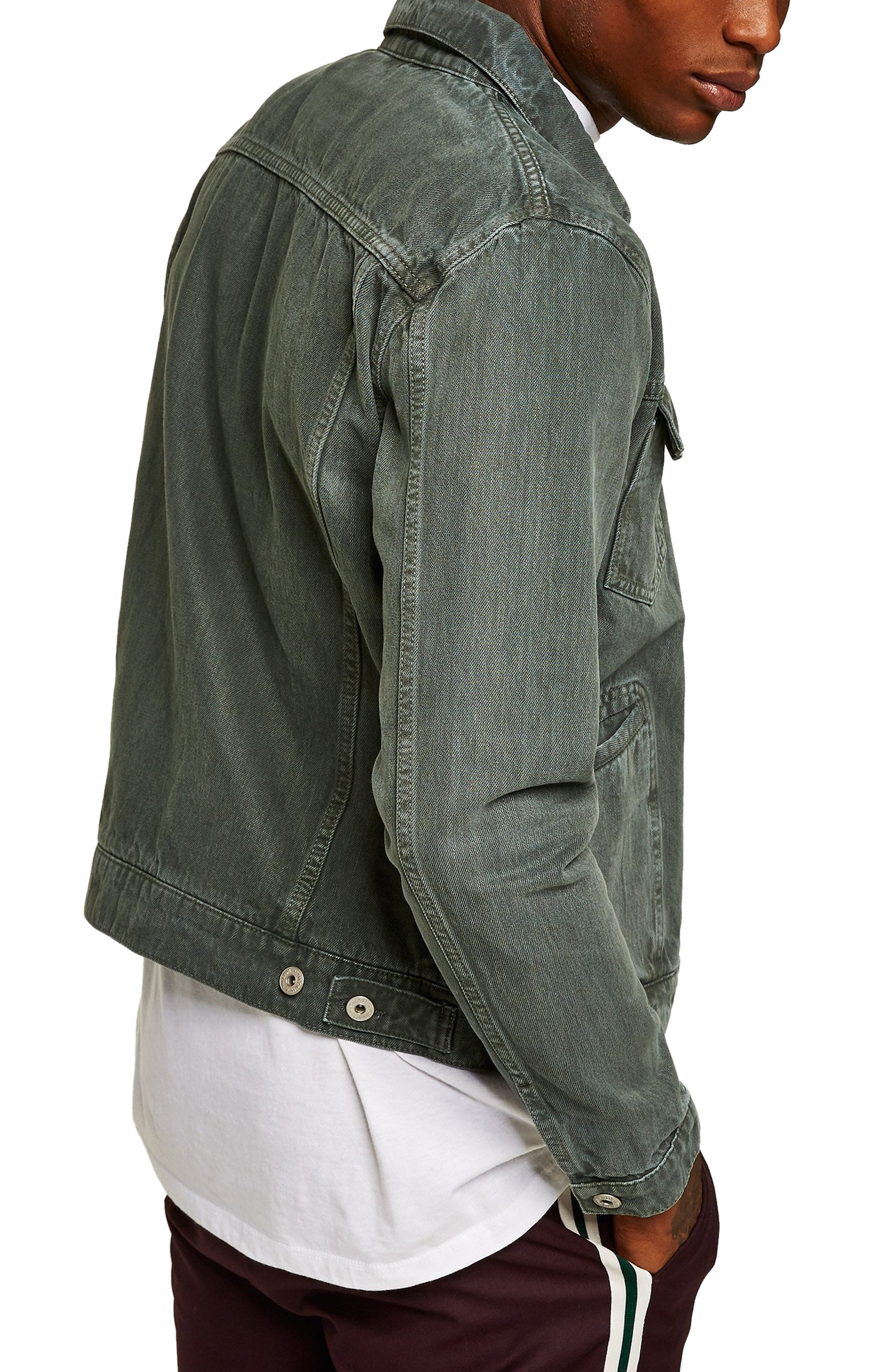 Zip Denim Jacket,                             Alternate thumbnail 2, color,                             LIGHT GREEN