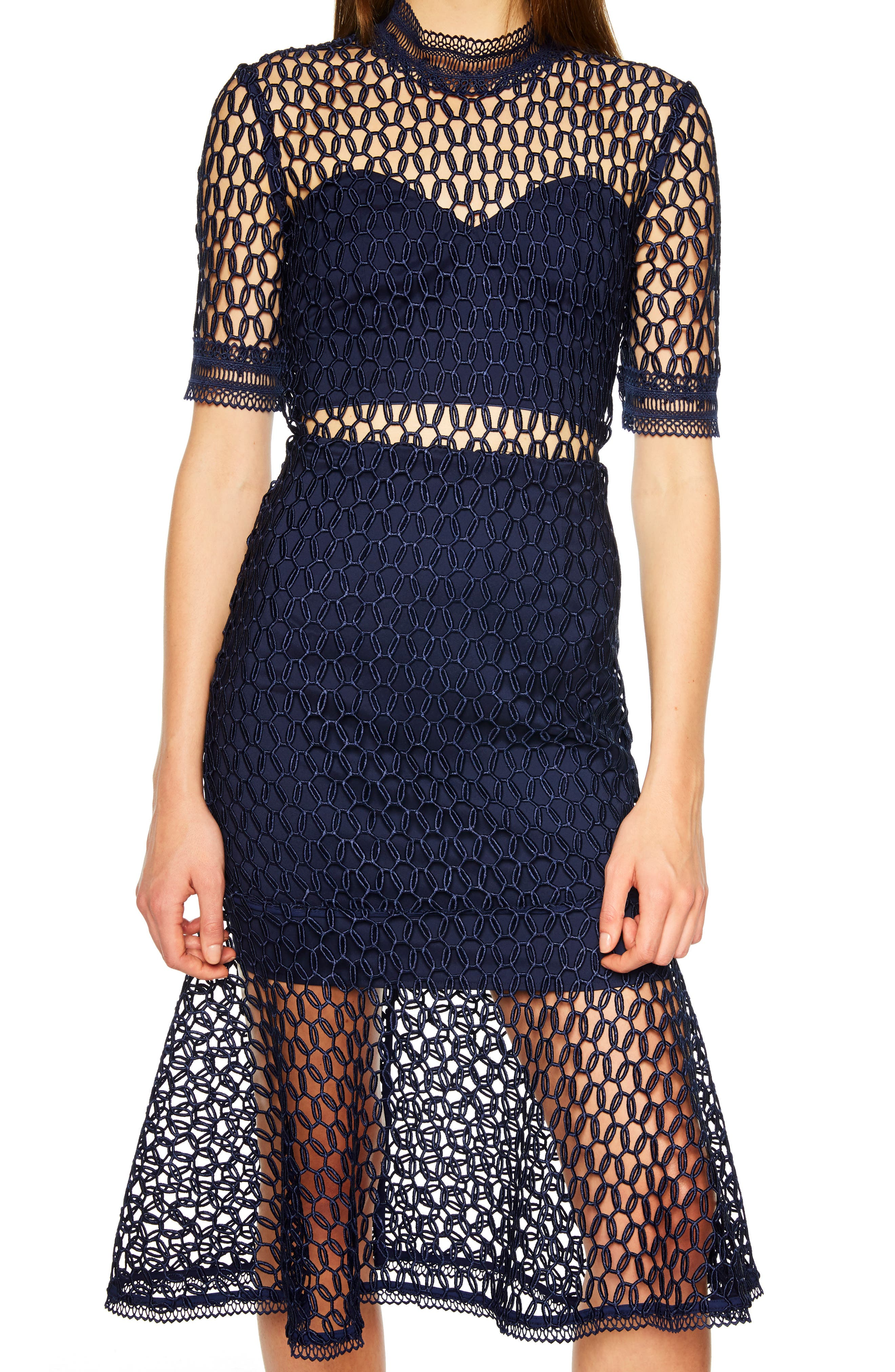 Fiona Mesh Lace Trumpet Dress,                             Alternate thumbnail 4, color,                             FRENCH NAVY