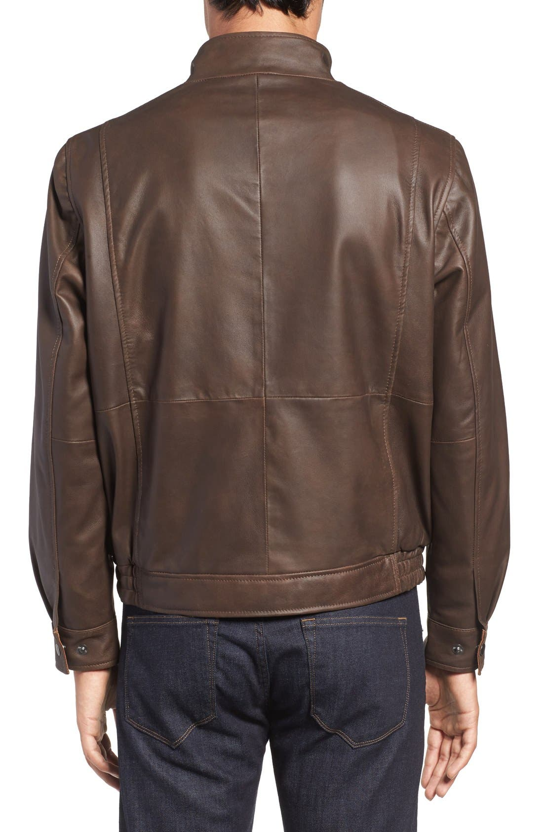 Leather Bomber Jacket,                             Alternate thumbnail 7, color,
