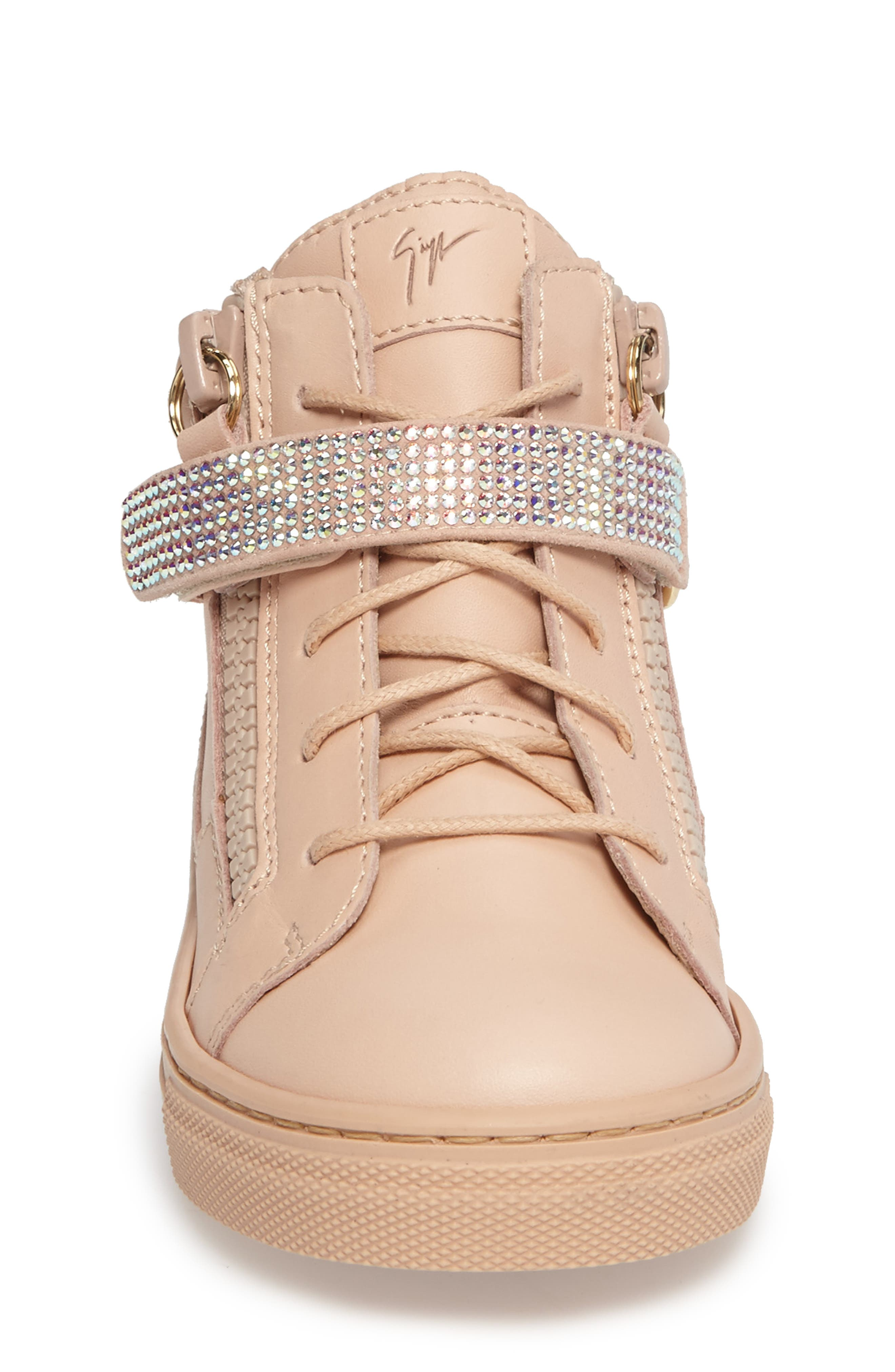 Swarovski Crystal Embellished High Top Sneaker,                             Alternate thumbnail 3, color,                             PINK