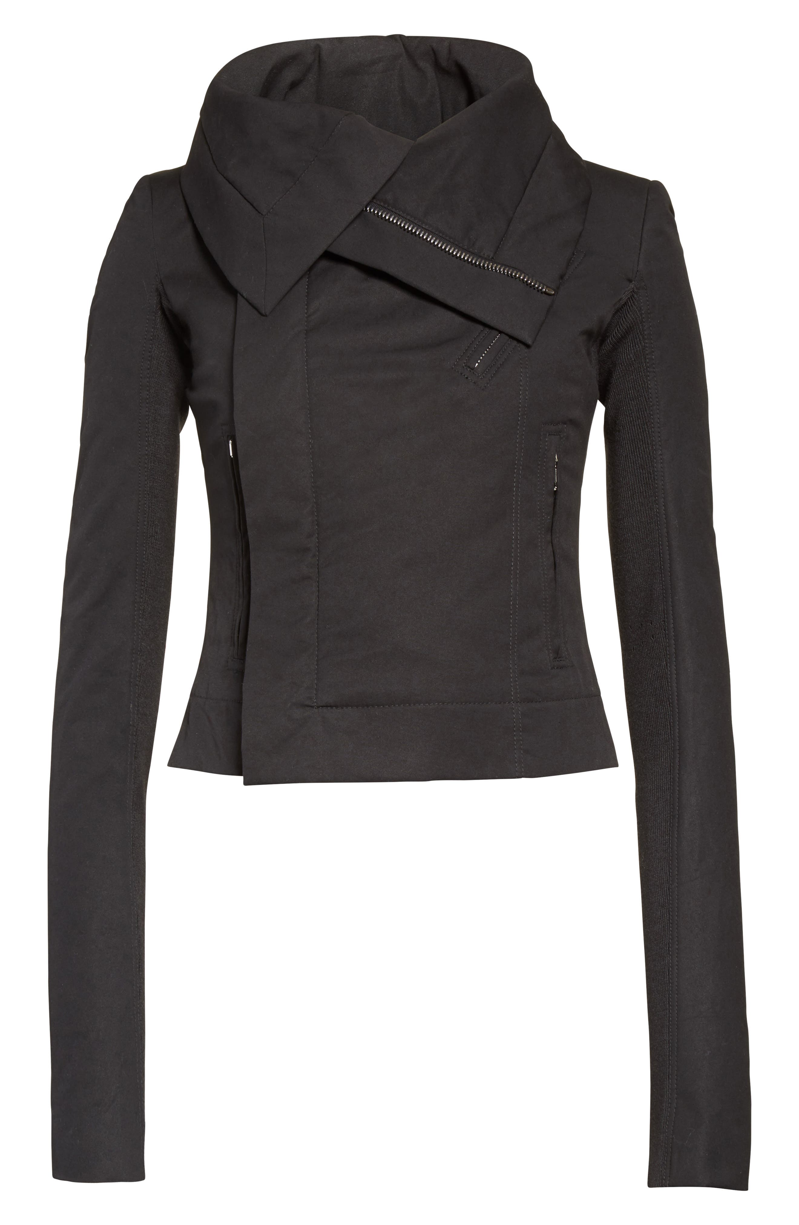 Stretch Cotton Biker Jacket,                             Alternate thumbnail 6, color,                             BLACK