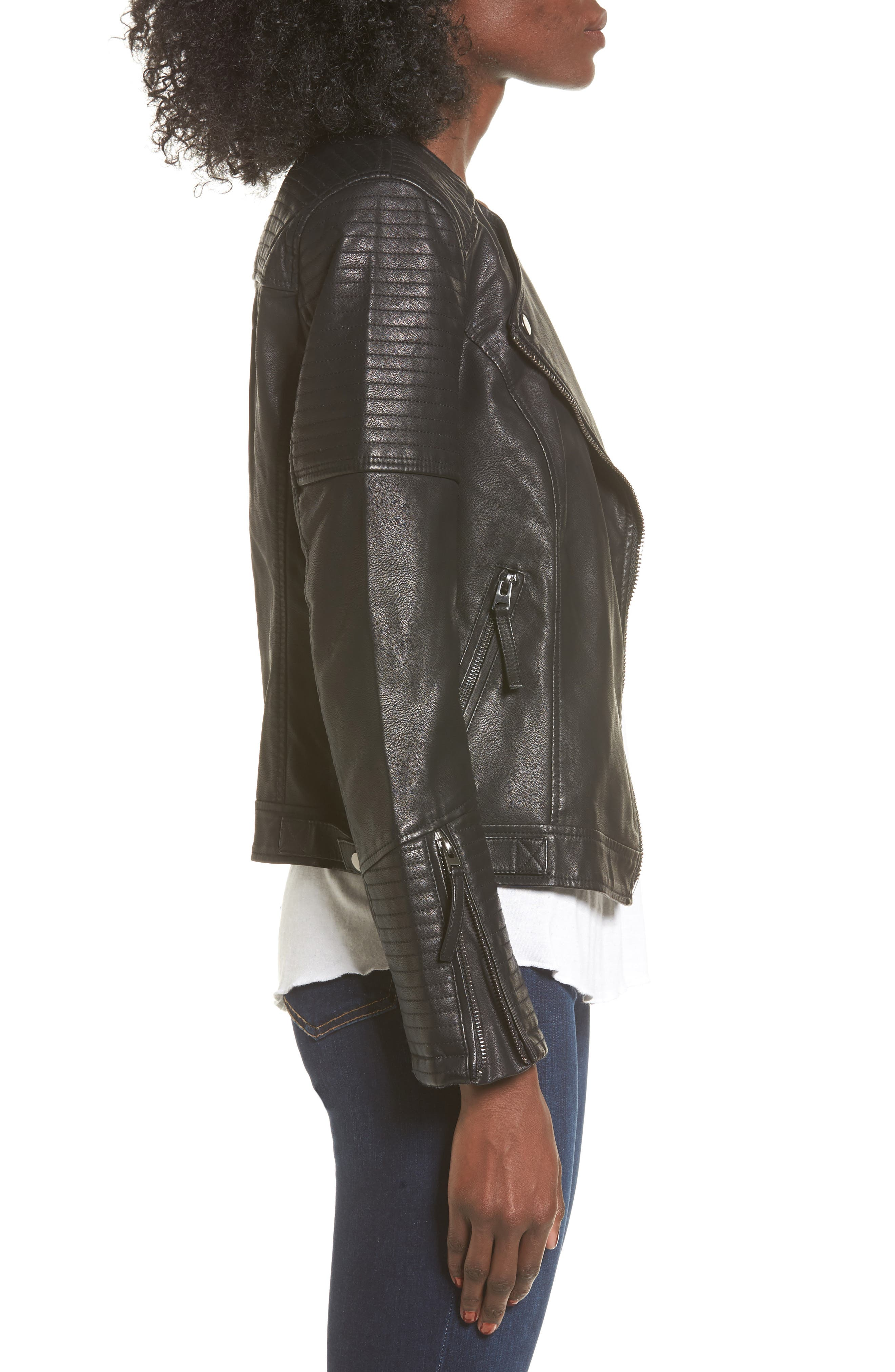 Luna Faux Leather Biker Jacket,                             Alternate thumbnail 6, color,