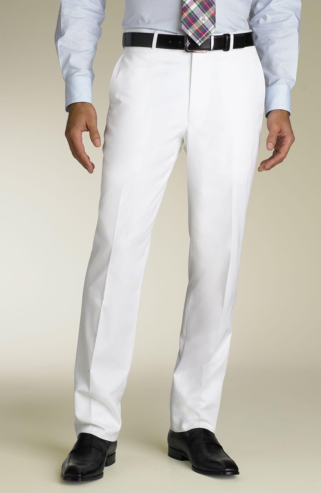 Flat Front Cotton Pants, Main, color, 100