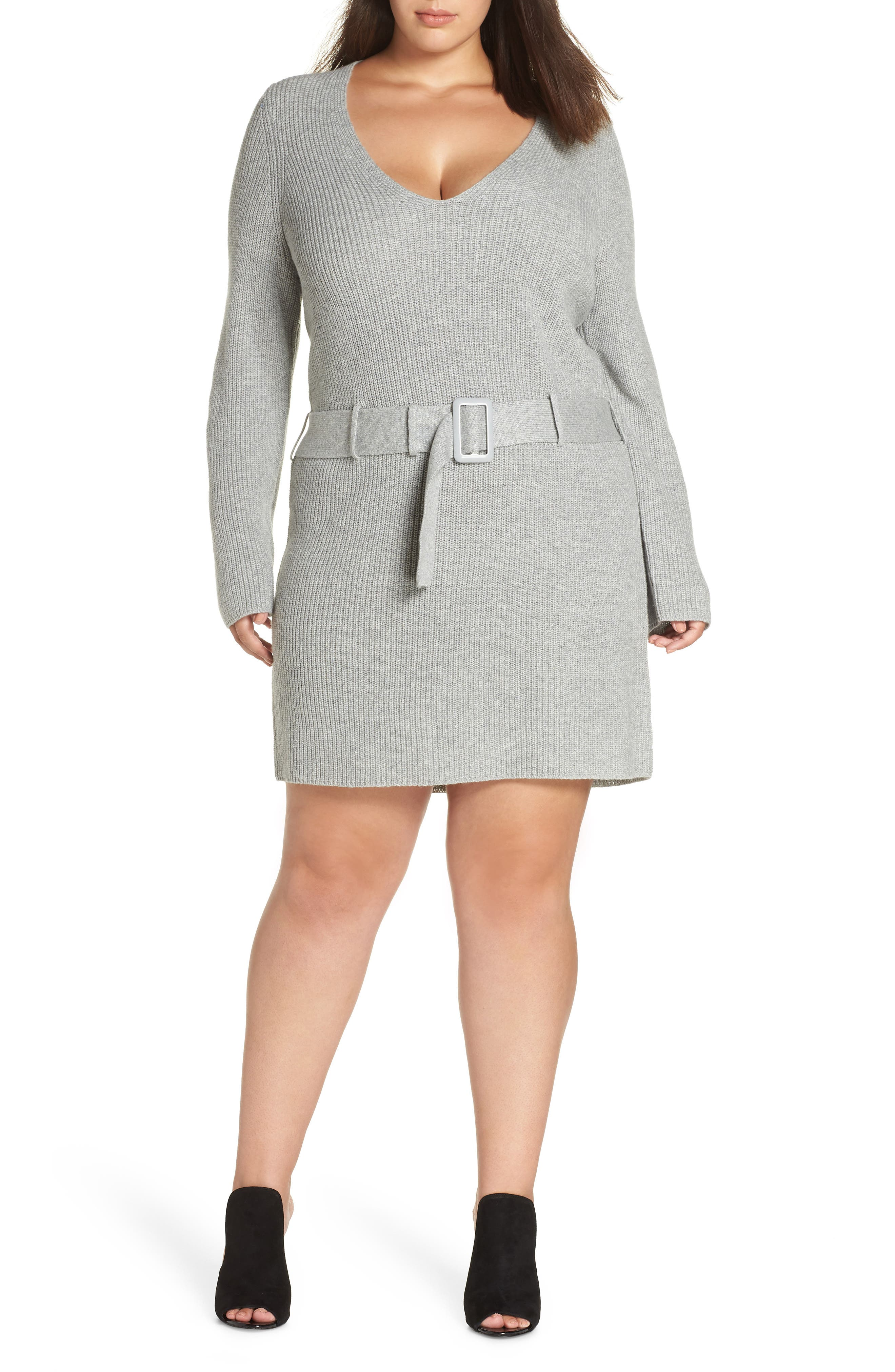 Belted Sweater Dress,                             Main thumbnail 1, color,                             GREY MEDIUM HEATHER