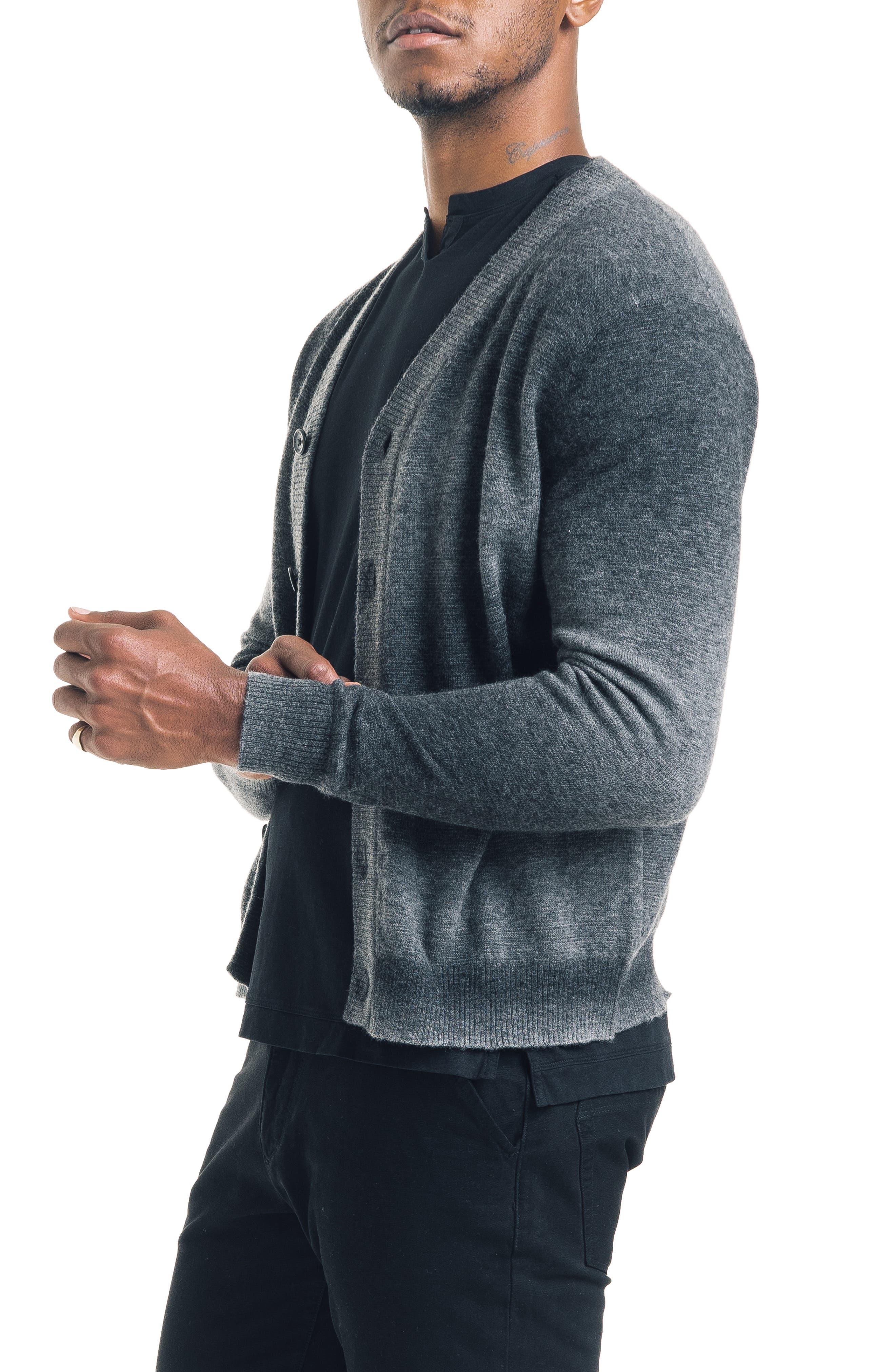 Modern Slim Fit Merino Wool Blend Cardigan,                             Alternate thumbnail 3, color,                             BLACK / GREY