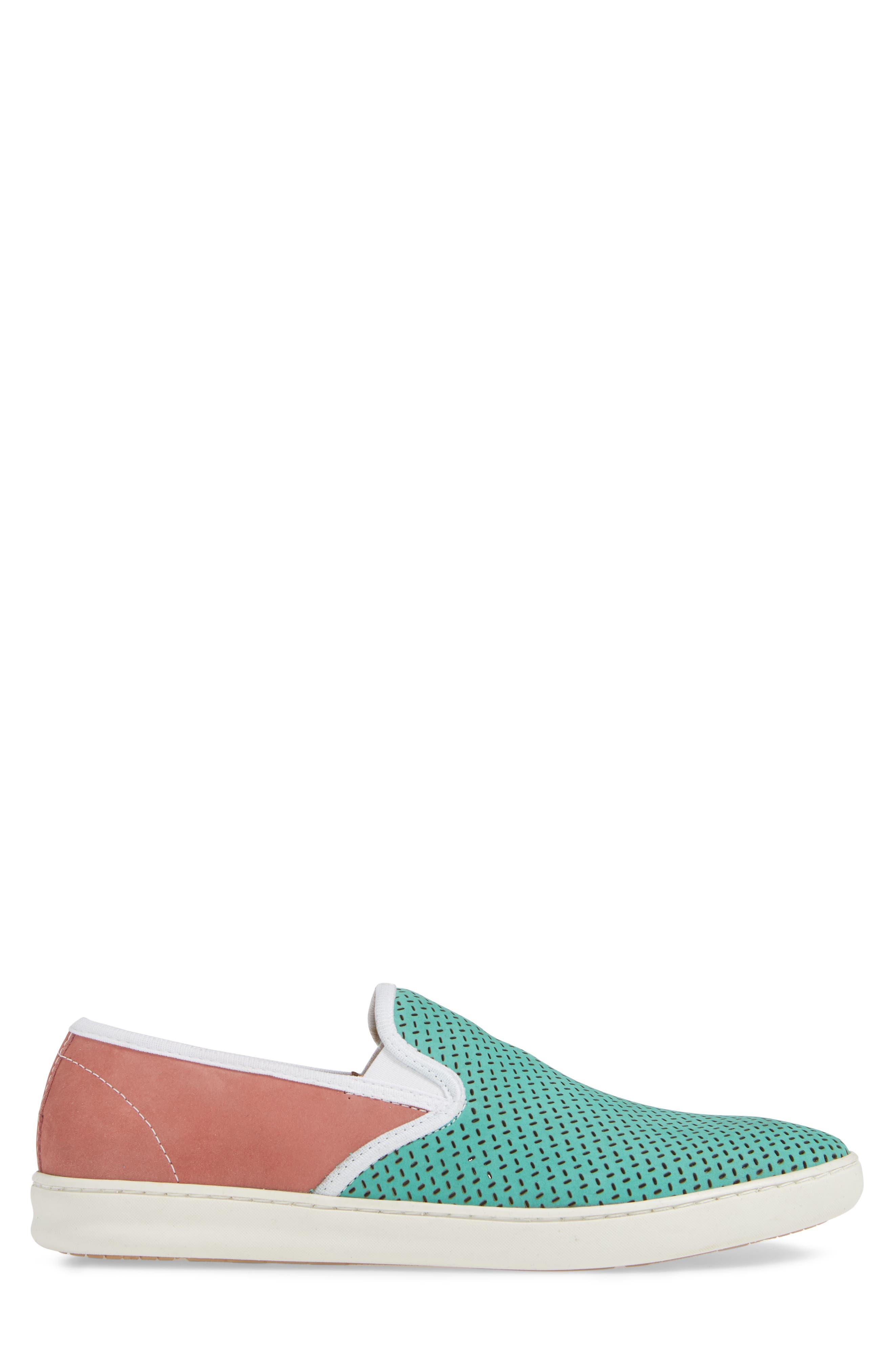 Malibu Perforated Loafer,                             Alternate thumbnail 3, color,                             AQUA/PINK NUBUCK
