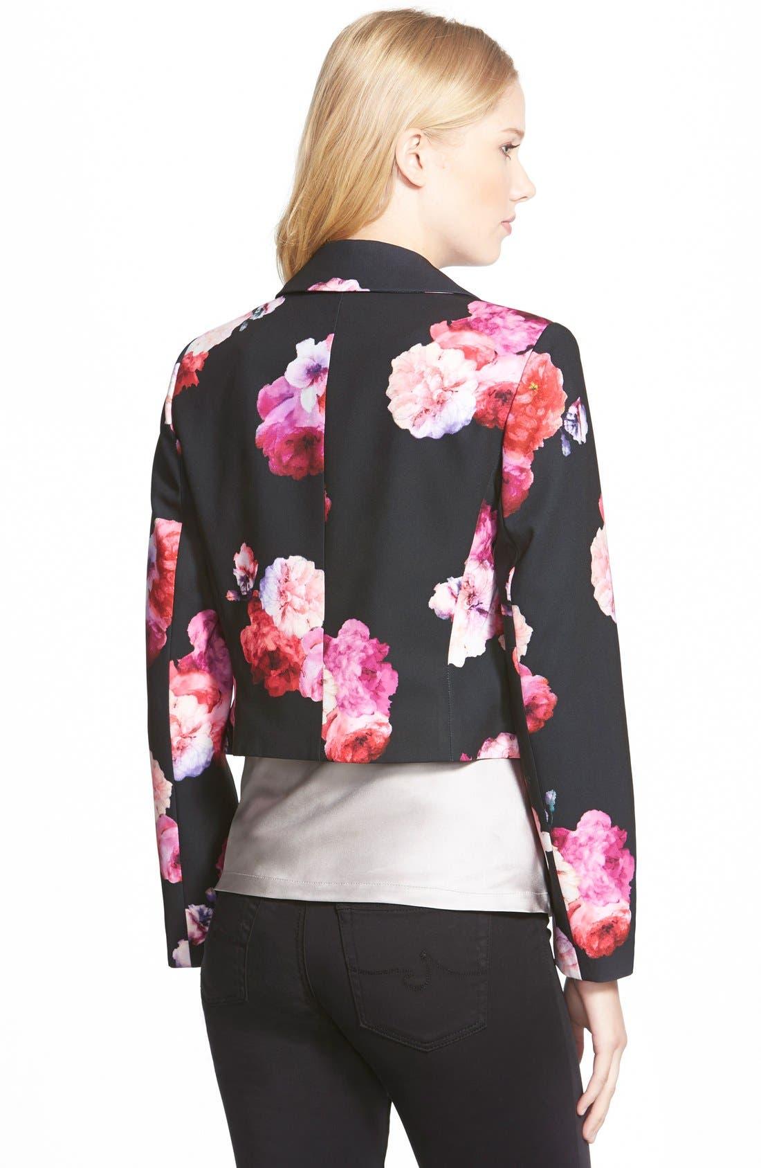 Floral Print Crop Jacket,                             Alternate thumbnail 3, color,                             011