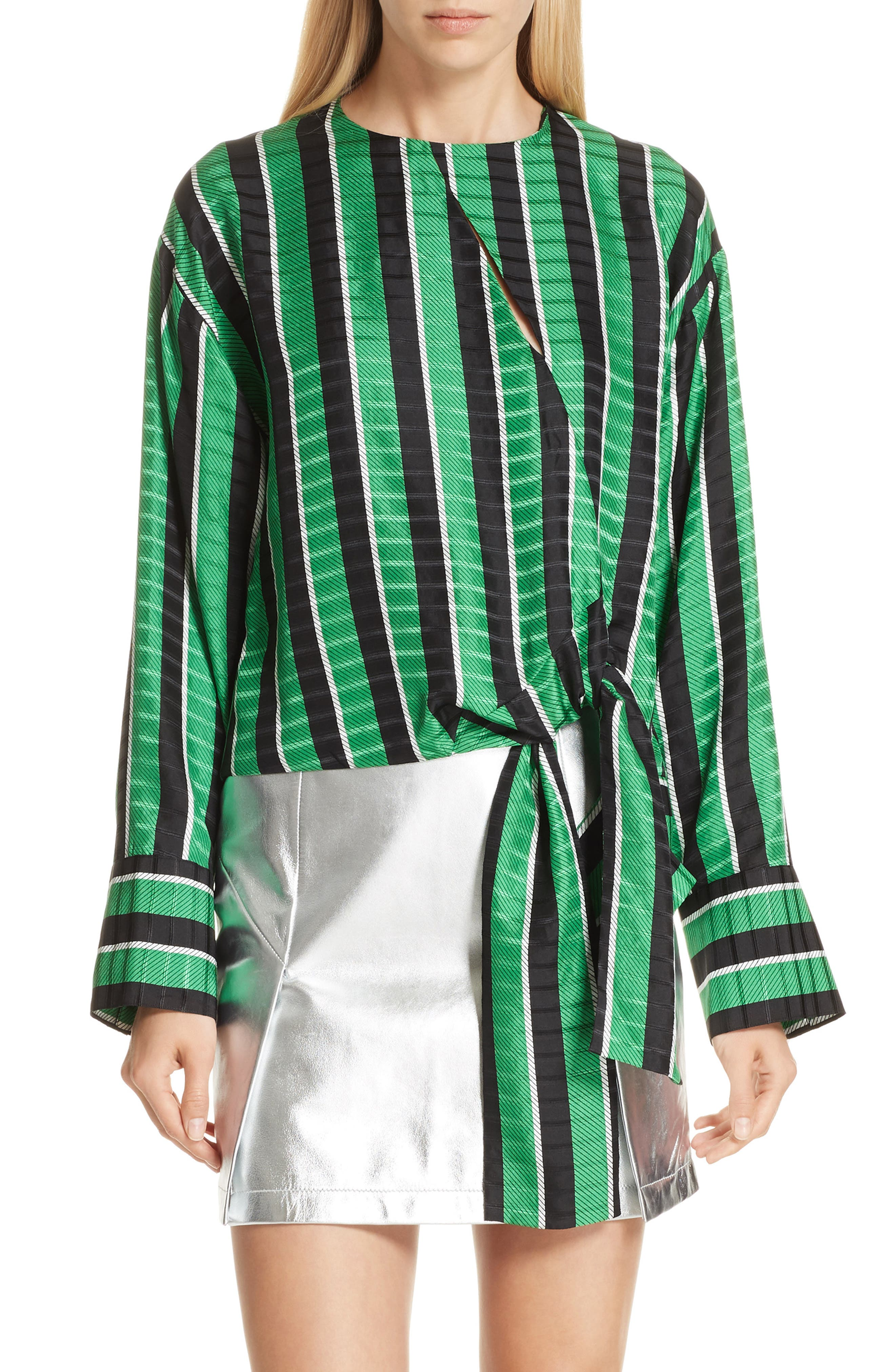 Tie Waist Stripe Blouse,                             Main thumbnail 1, color,                             310