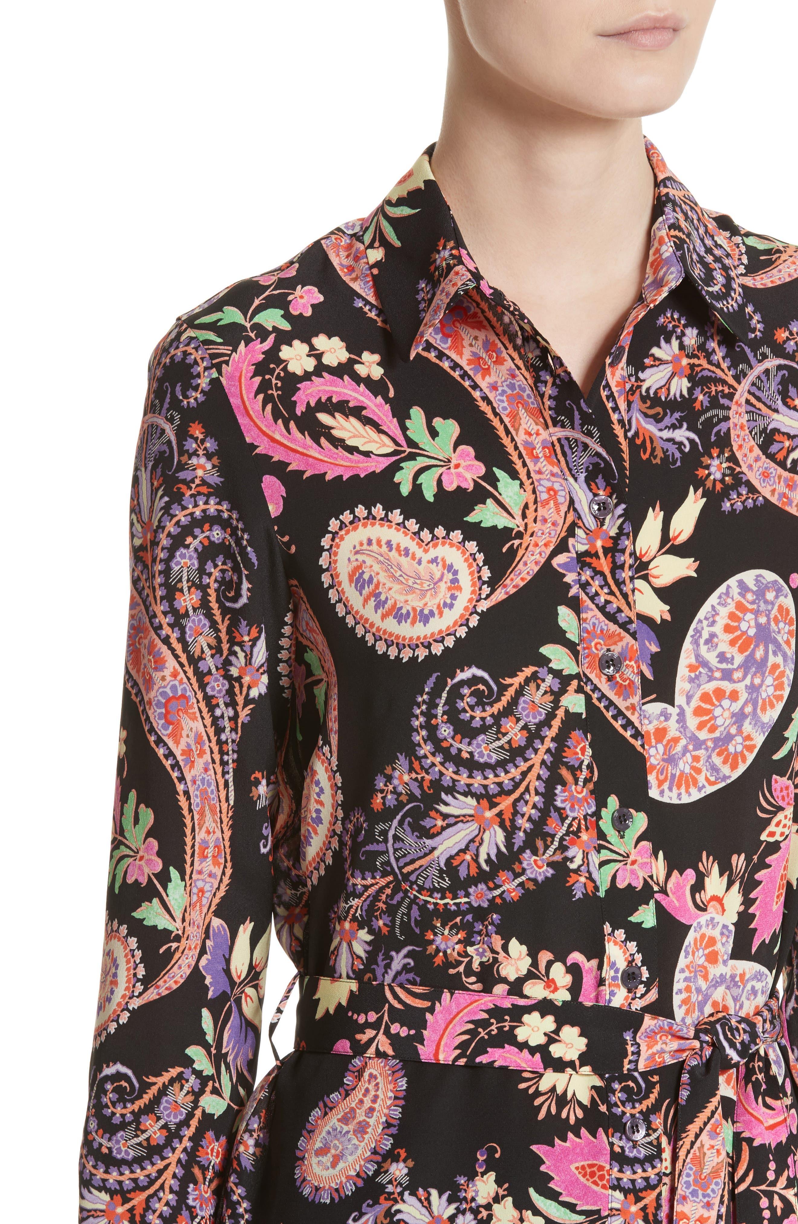 Floral Paisley Print Silk Tunic,                             Alternate thumbnail 4, color,                             001
