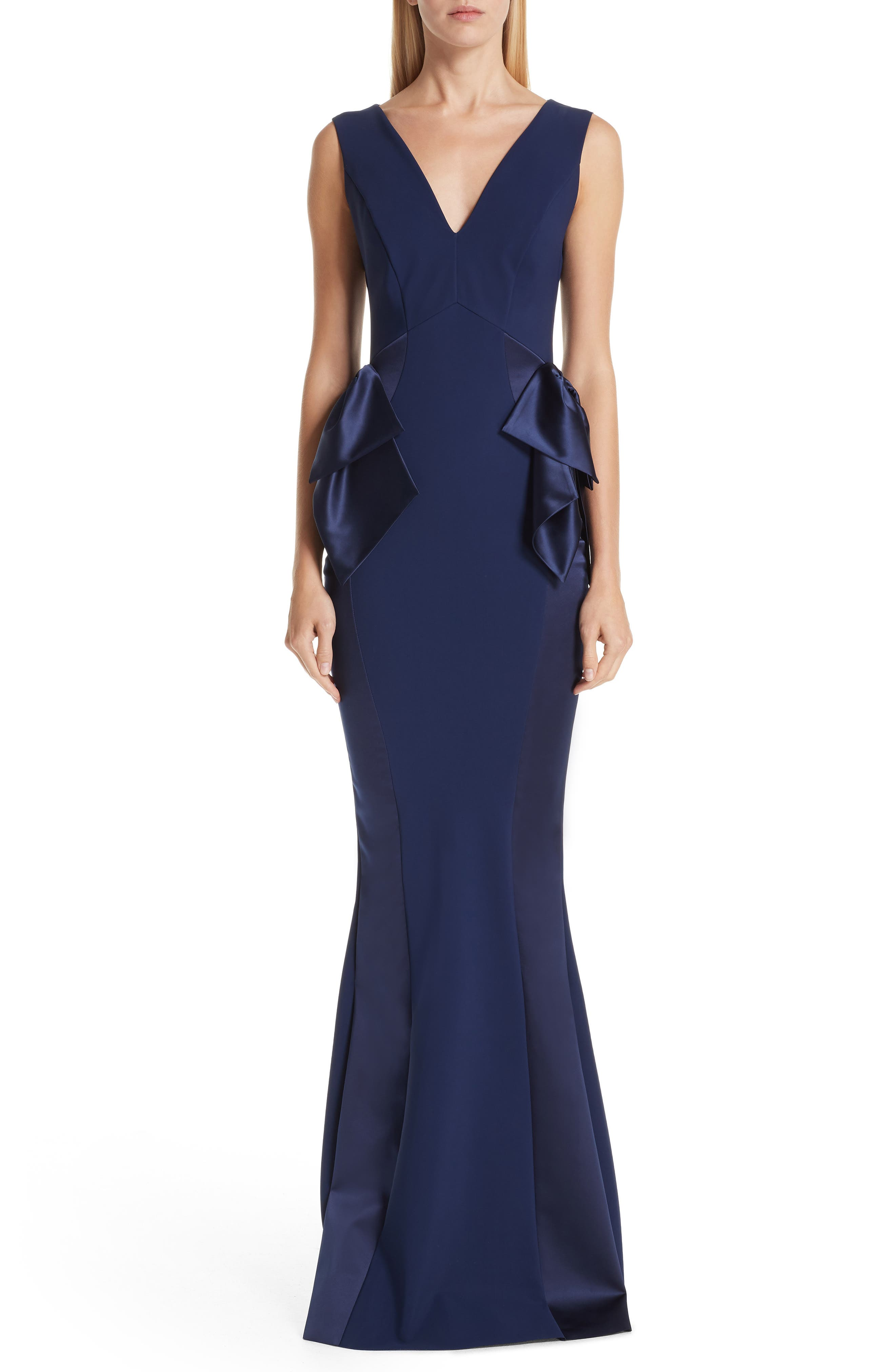 Macaria Satin Bow Trumpet Gown,                             Main thumbnail 1, color,                             BLUE NOTTE