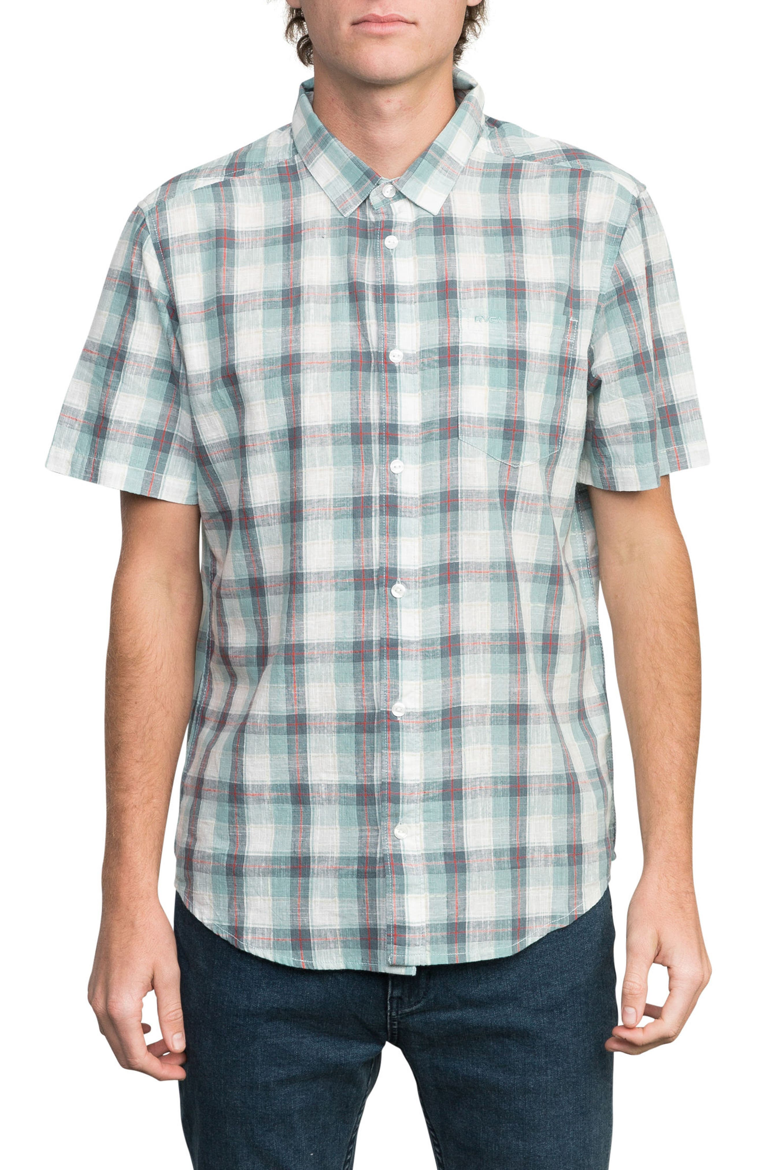 Deep Plaid Woven Shirt,                             Main thumbnail 1, color,                             BLUE