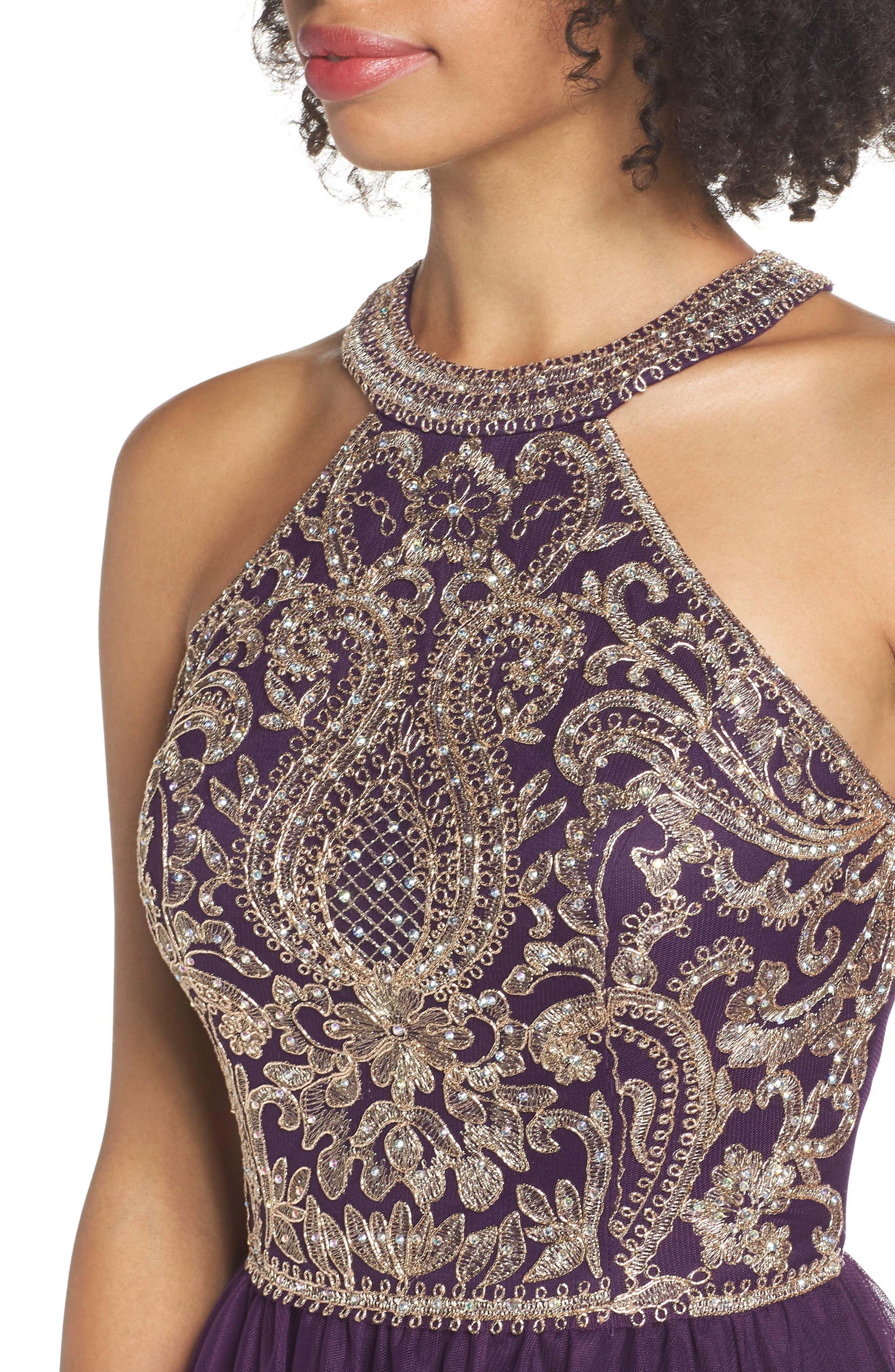 BLONDIE NITES,                             High Neck Appliqué Fit & Flare Dress,                             Alternate thumbnail 5, color,                             522