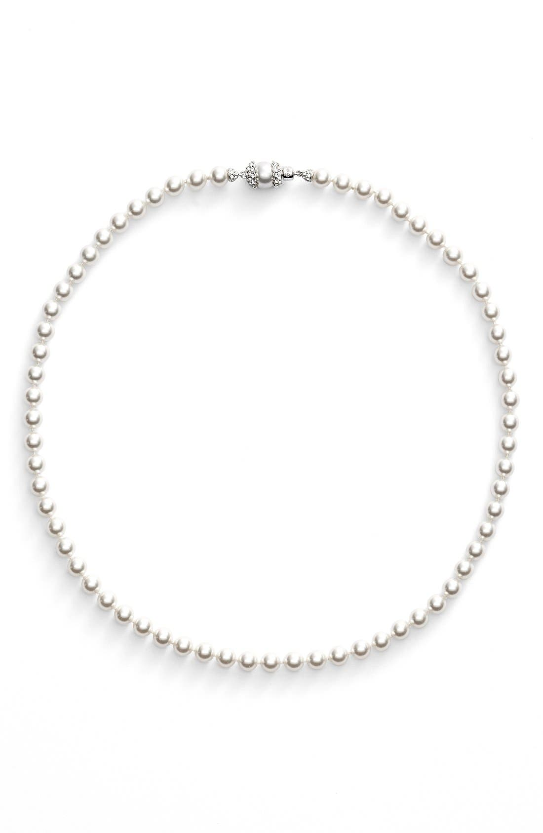Imitation Pearl Collar Necklace,                             Alternate thumbnail 2, color,                             RHODIUM