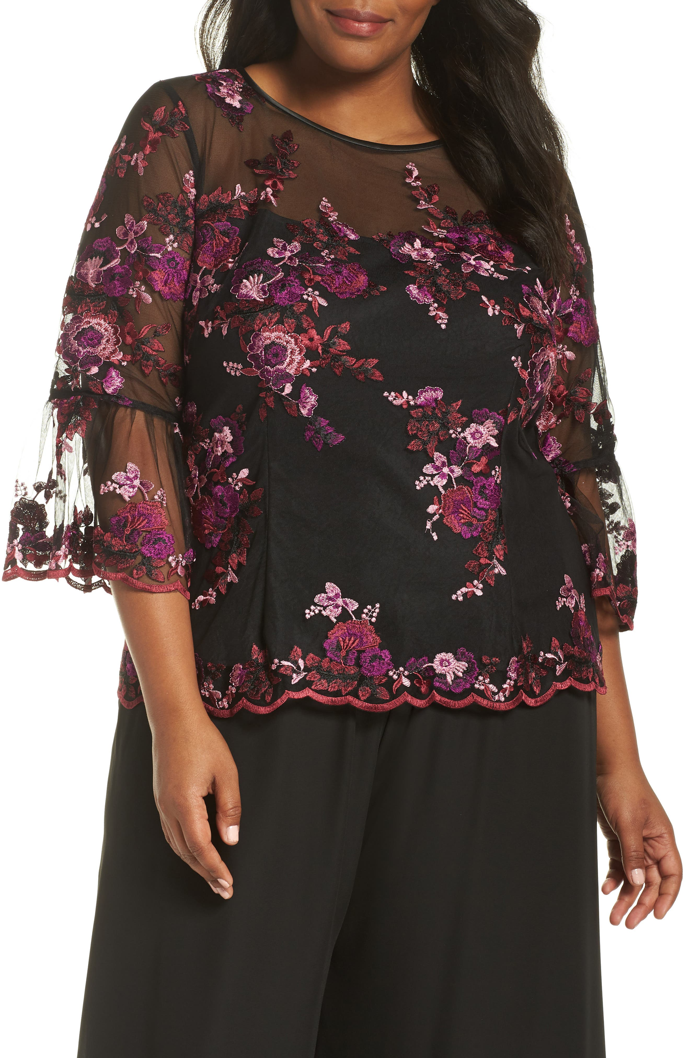 Three-Quarter Sleeve Embroidered Top,                         Main,                         color, BLACK MULTI