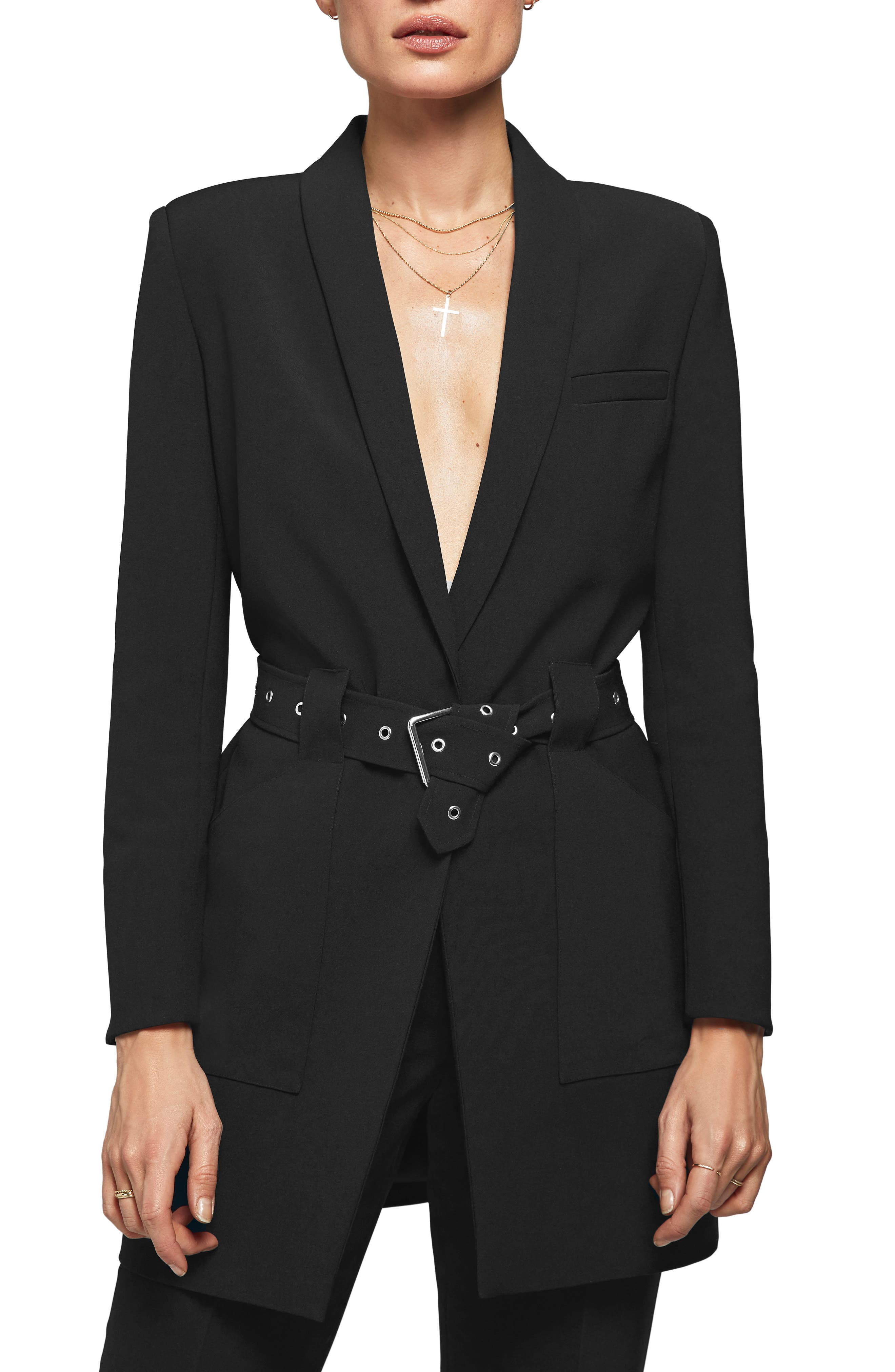 Belted Blazer,                             Main thumbnail 1, color,                             BLACK