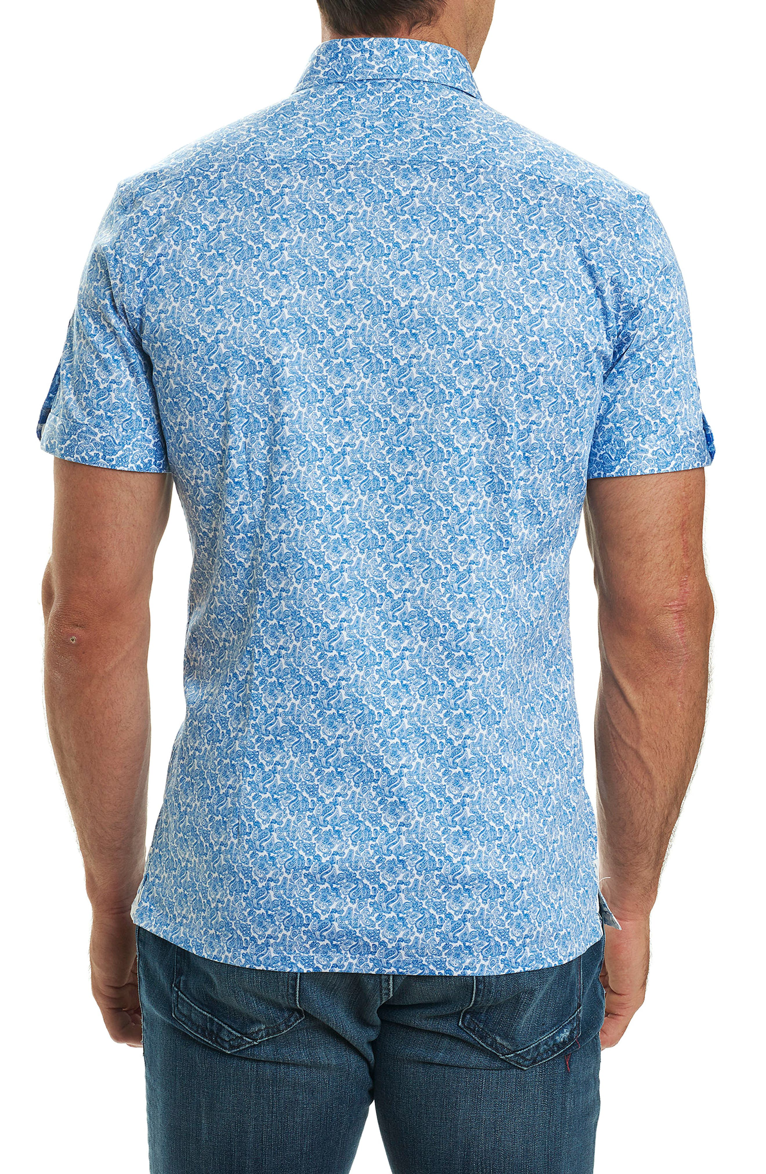 Thad Tailored Fit Paisley Sport Shirt,                             Alternate thumbnail 4, color,