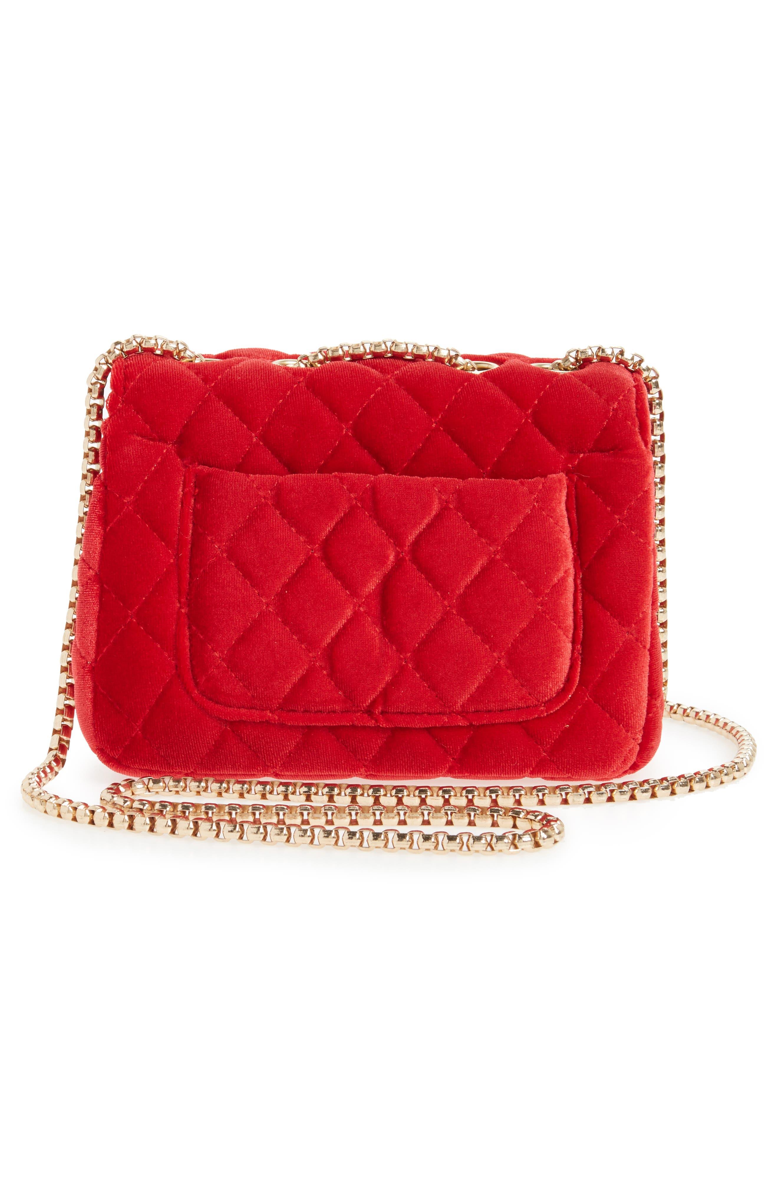 POPATU,                             Quilted Velvet Shoulder Bag,                             Alternate thumbnail 2, color,                             RED