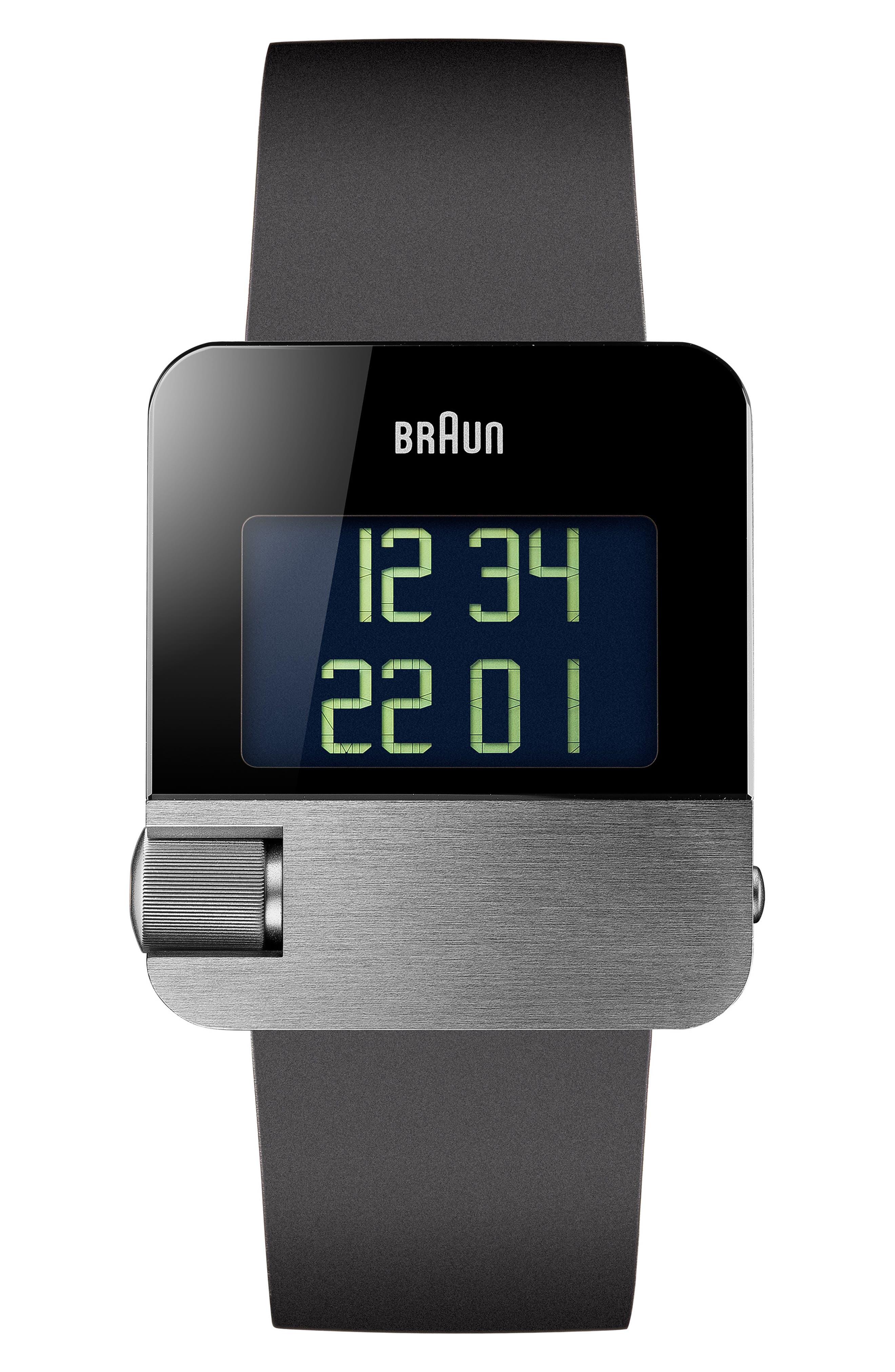 BRAUN Prestige Digital Rubber Strap Watch, 42Mm in Black/ Silver
