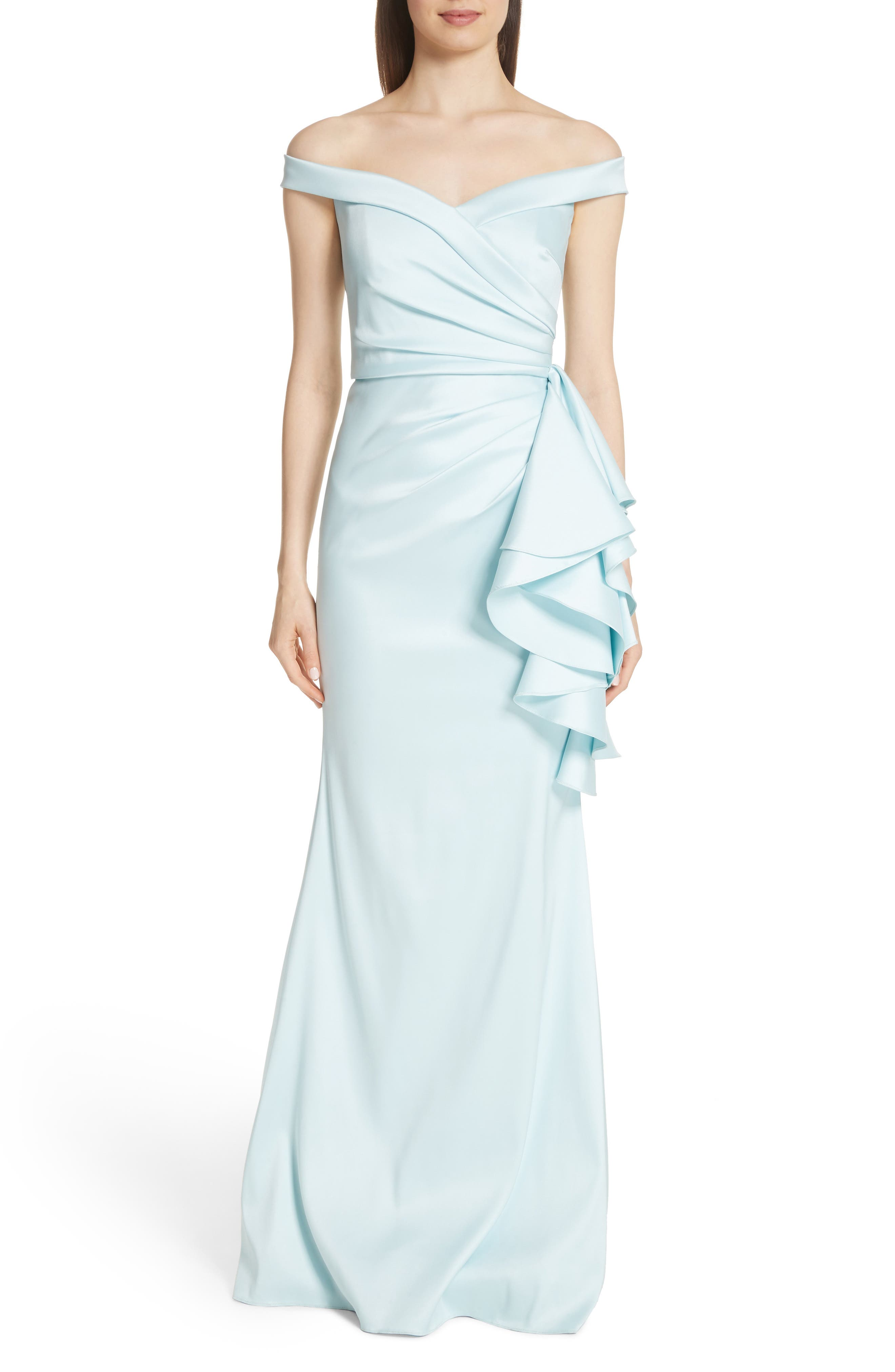 Badgley Mischka Collection Off The Shoulder Ruffle Detail Gown, Blue